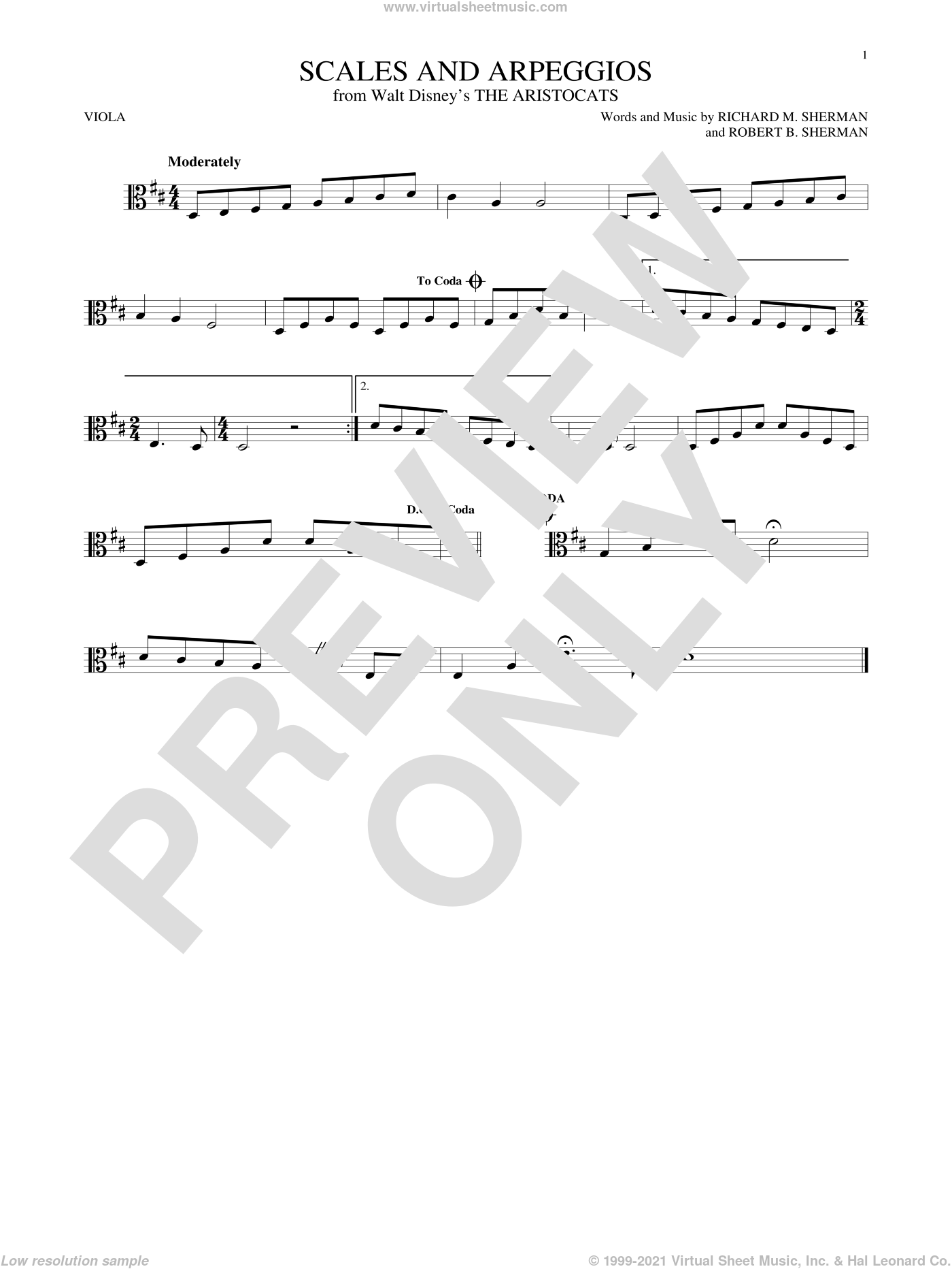 Scales And Arpeggios sheet music for viola solo by Robert B. Sherman and Richard M. Sherman. Score Image Preview.
