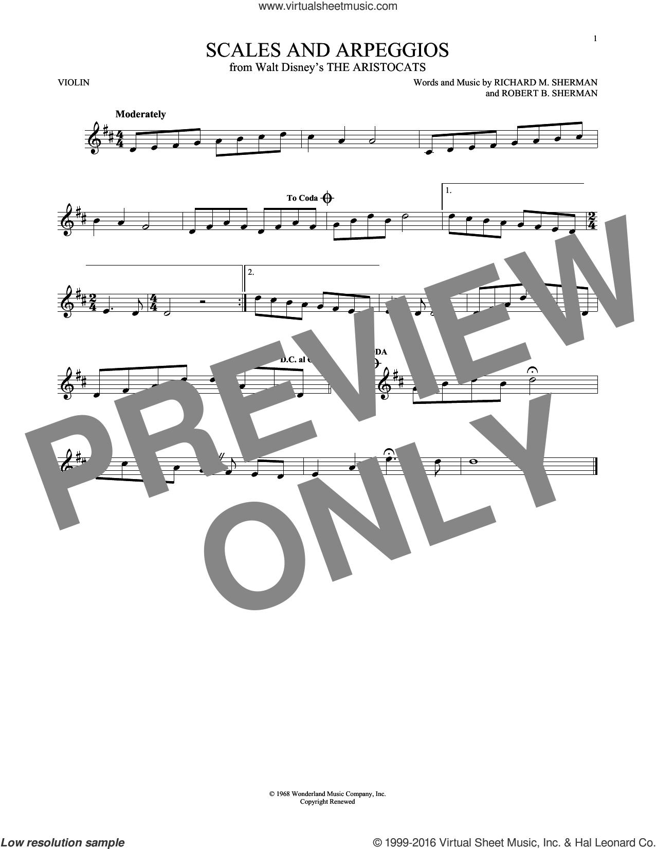 Scales And Arpeggios sheet music for violin solo by Richard M. Sherman, Richard & Robert Sherman and Robert B. Sherman, intermediate skill level