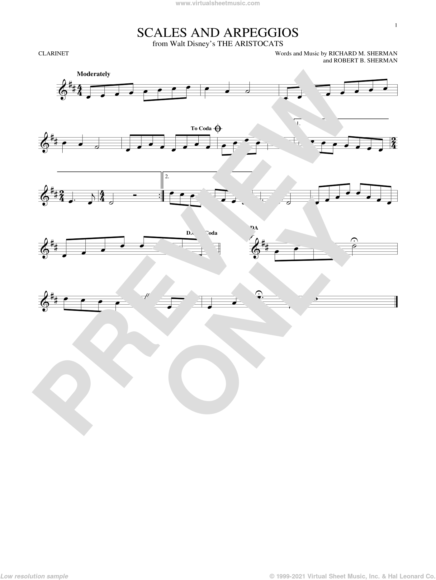 Scales And Arpeggios sheet music for clarinet solo by Richard M. Sherman, Richard & Robert Sherman and Robert B. Sherman, intermediate skill level
