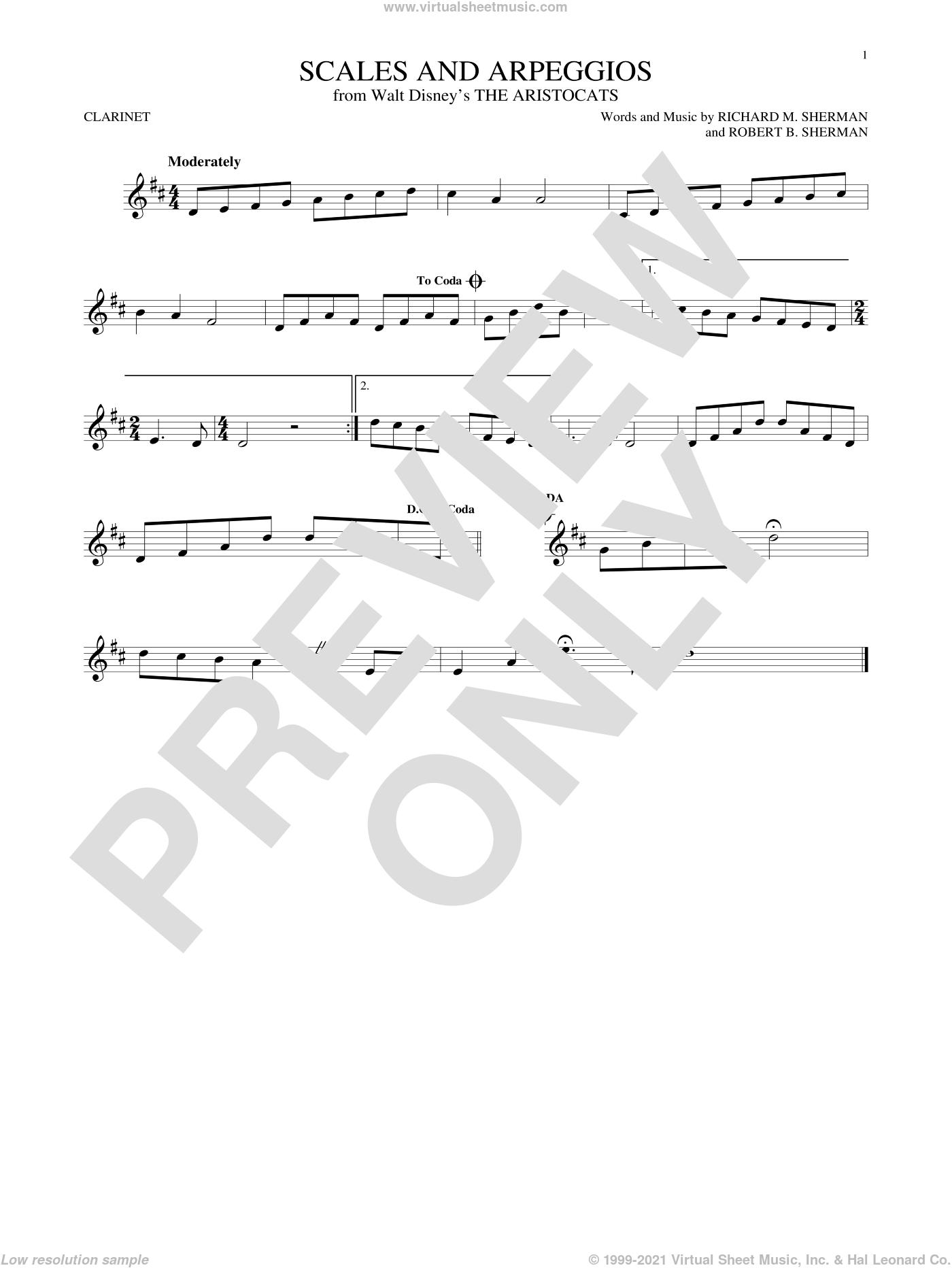 Scales And Arpeggios sheet music for clarinet solo by Richard M. Sherman, Richard & Robert Sherman and Robert B. Sherman, intermediate skill level