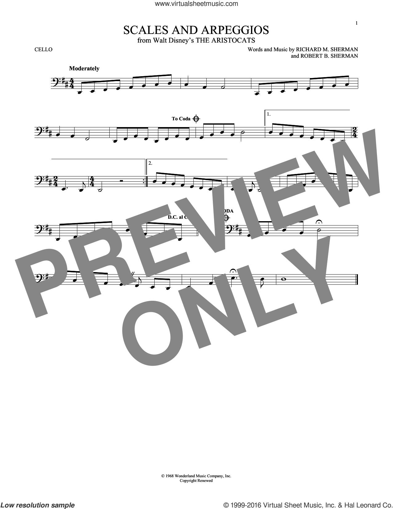 Scales And Arpeggios sheet music for cello solo by Richard M. Sherman, Richard & Robert Sherman and Robert B. Sherman, intermediate skill level