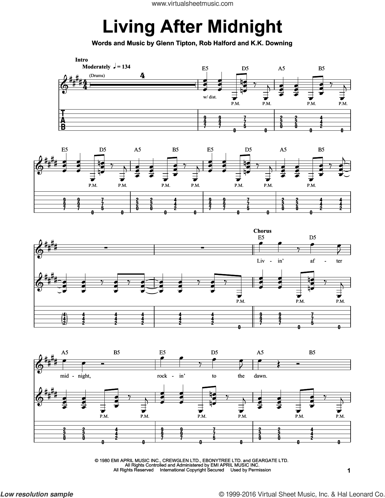 Living After Midnight sheet music for guitar solo (easy tablature) by Judas Priest, Glenn Raymond Tipton, Kenneth Downing and Rob Halford, easy guitar (easy tablature)