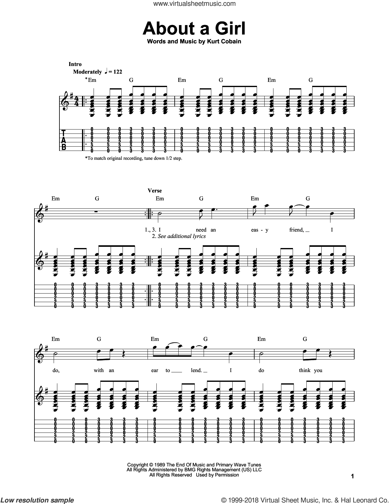 About A Girl sheet music for guitar solo (easy tablature) by Nirvana, easy guitar (easy tablature). Score Image Preview.