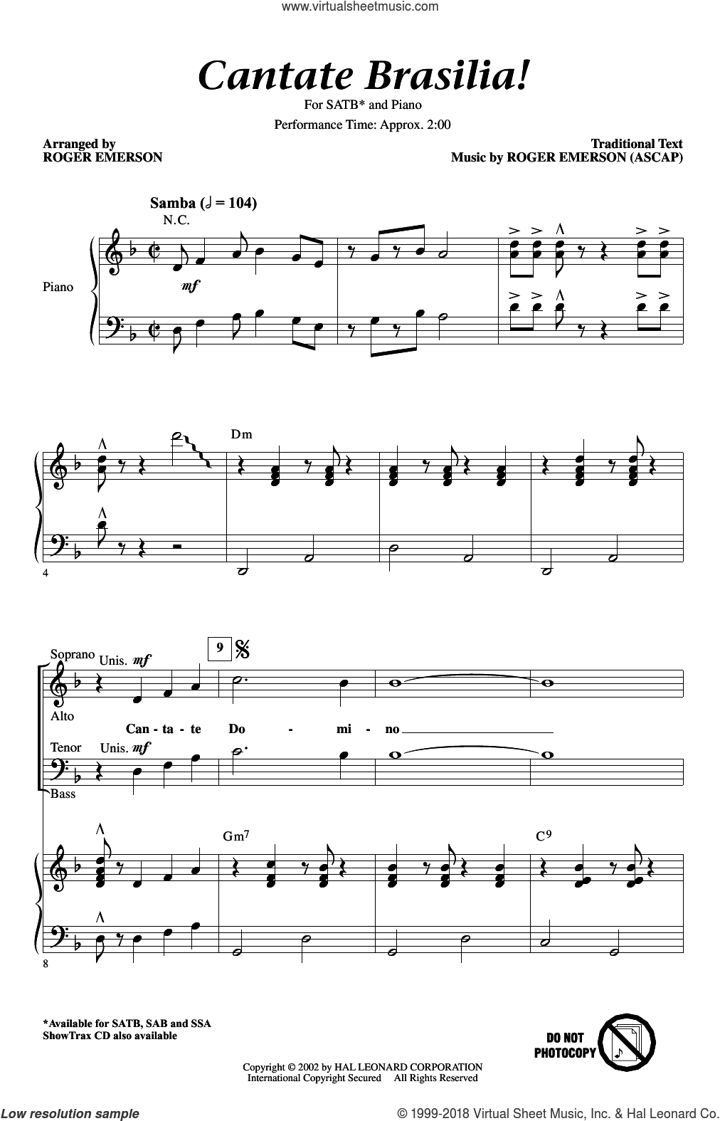 Cantate Brasilia sheet music for choir and piano (SATB) by Roger Emerson. Score Image Preview.