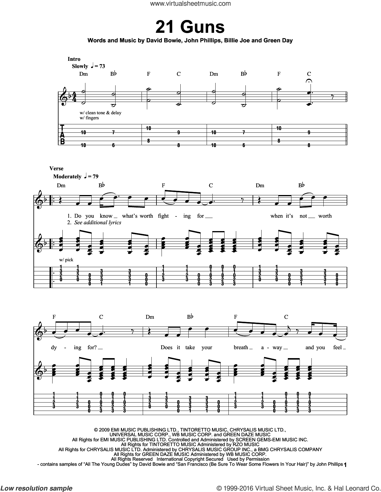 21 Guns sheet music for guitar solo (easy tablature) by Green Day, Billie Joe and David Bowie, easy guitar (easy tablature). Score Image Preview.