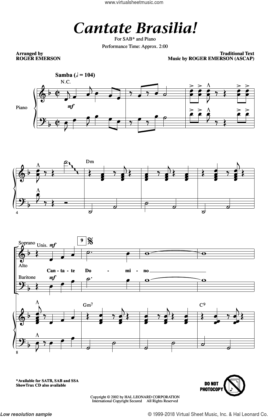 Cantate Brasilia sheet music for choir (SAB) by Roger Emerson. Score Image Preview.