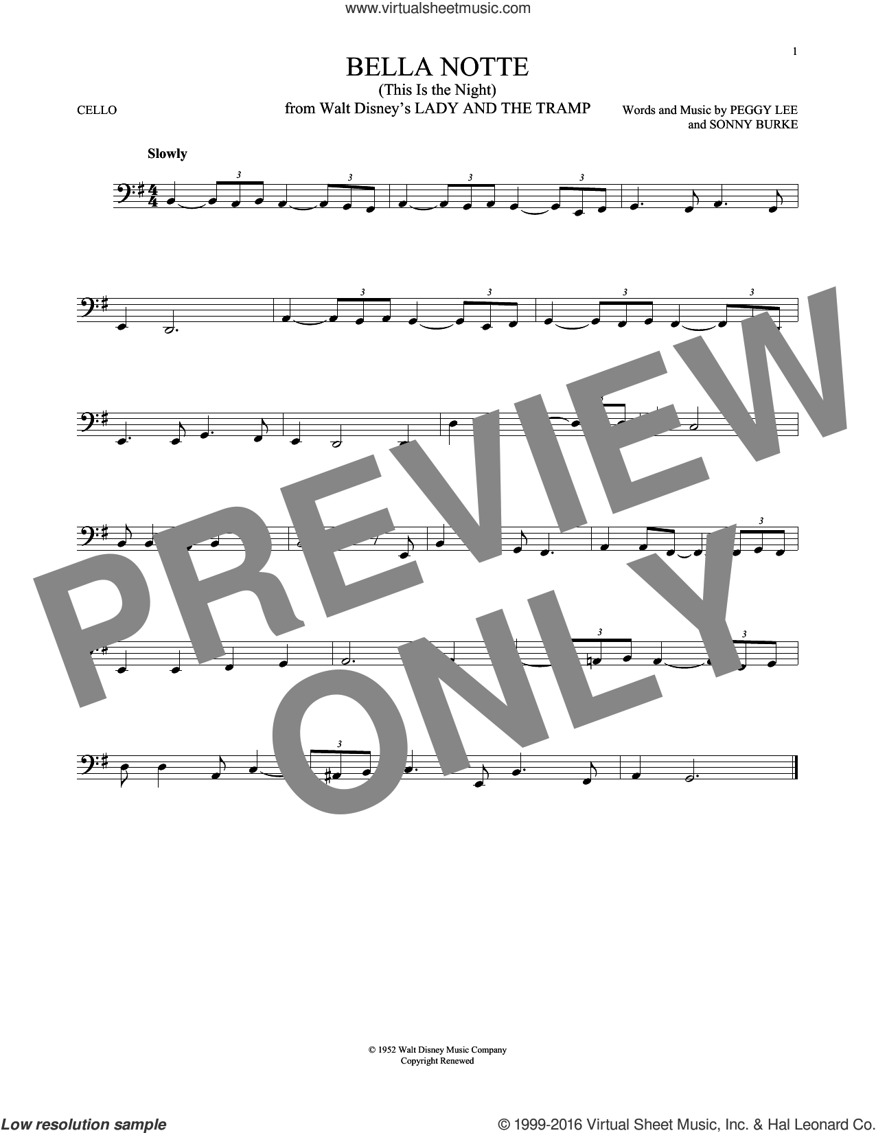 Bella Notte (from Lady And The Tramp) sheet music for cello solo by Peggy Lee, Peggy Lee & Sonny Burke and Sonny Burke, intermediate skill level
