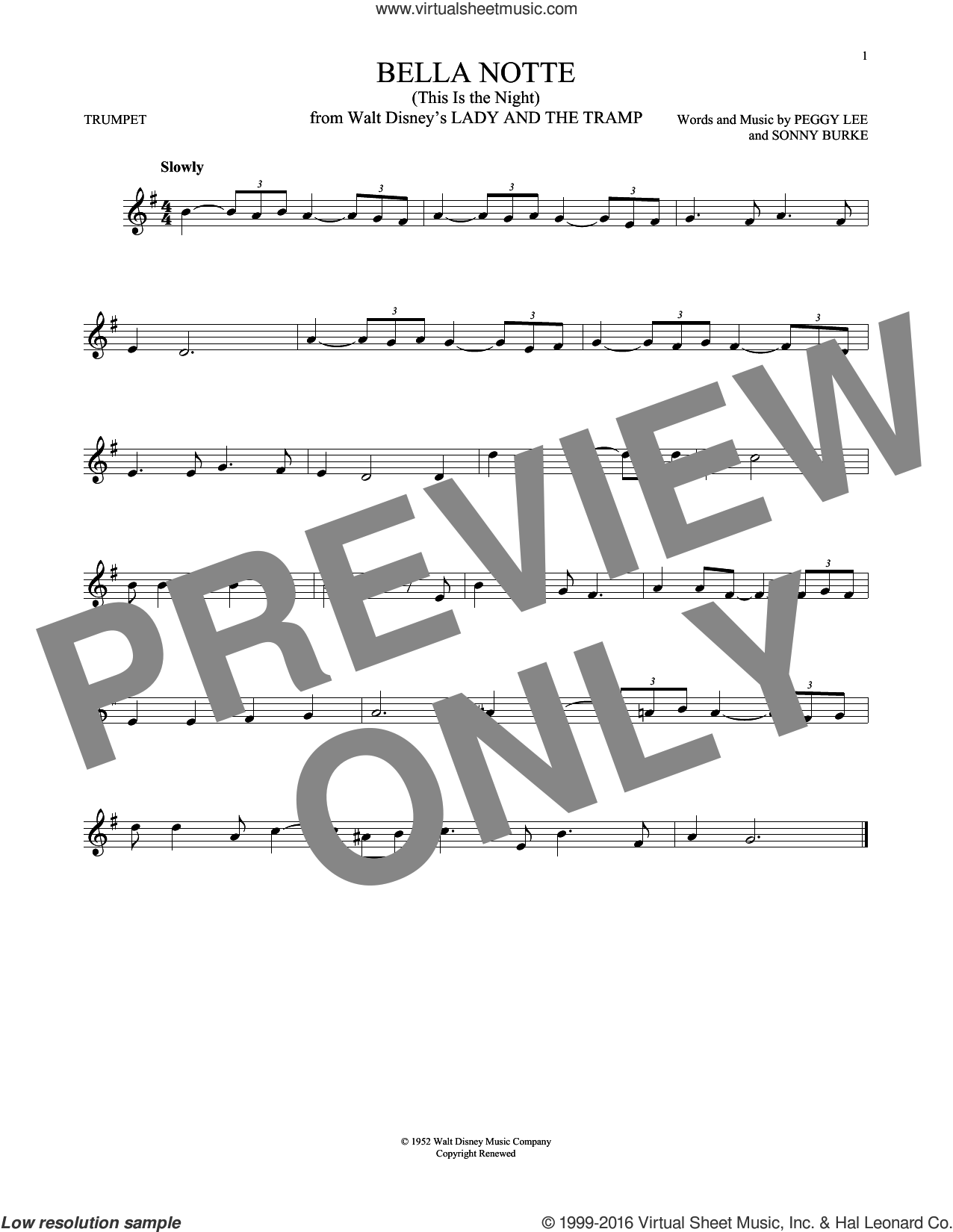 Bella Notte sheet music for trumpet solo by Sonny Burke and Peggy Lee. Score Image Preview.