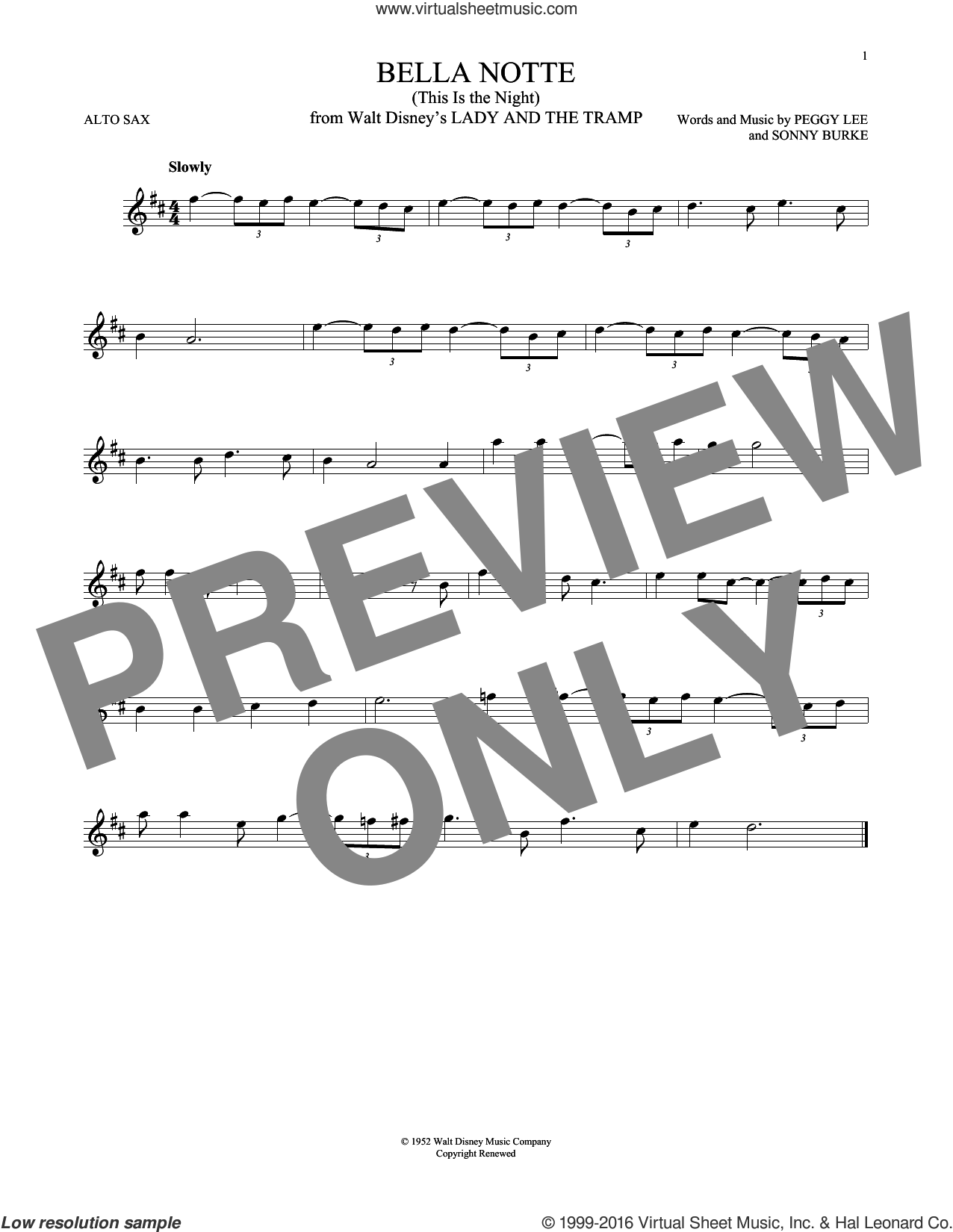 Bella Notte sheet music for alto saxophone solo by Peggy Lee and Sonny Burke. Score Image Preview.