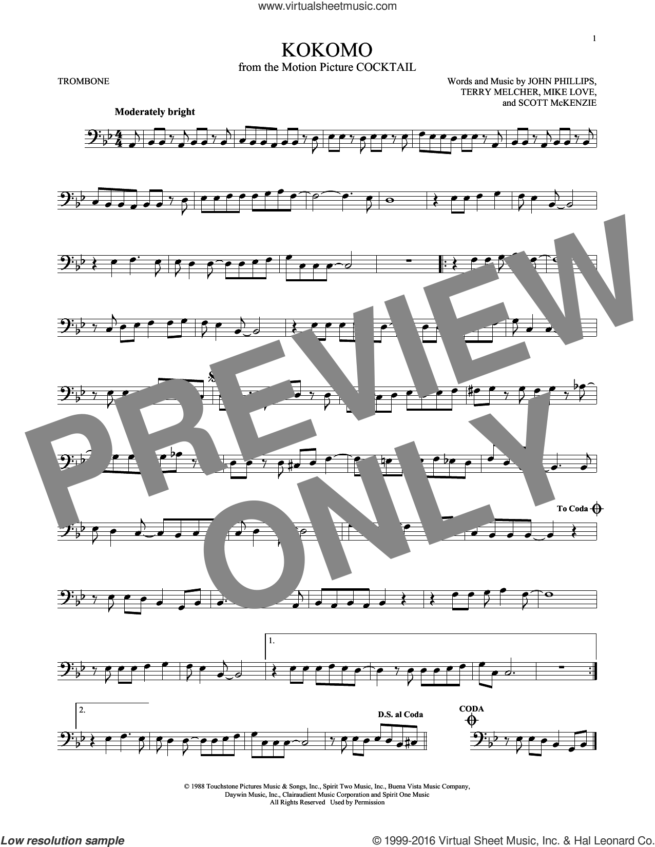 Kokomo sheet music for trombone solo by Terry Melcher, The Beach Boys, John Phillips, Mike Love and Scott McKenzie. Score Image Preview.
