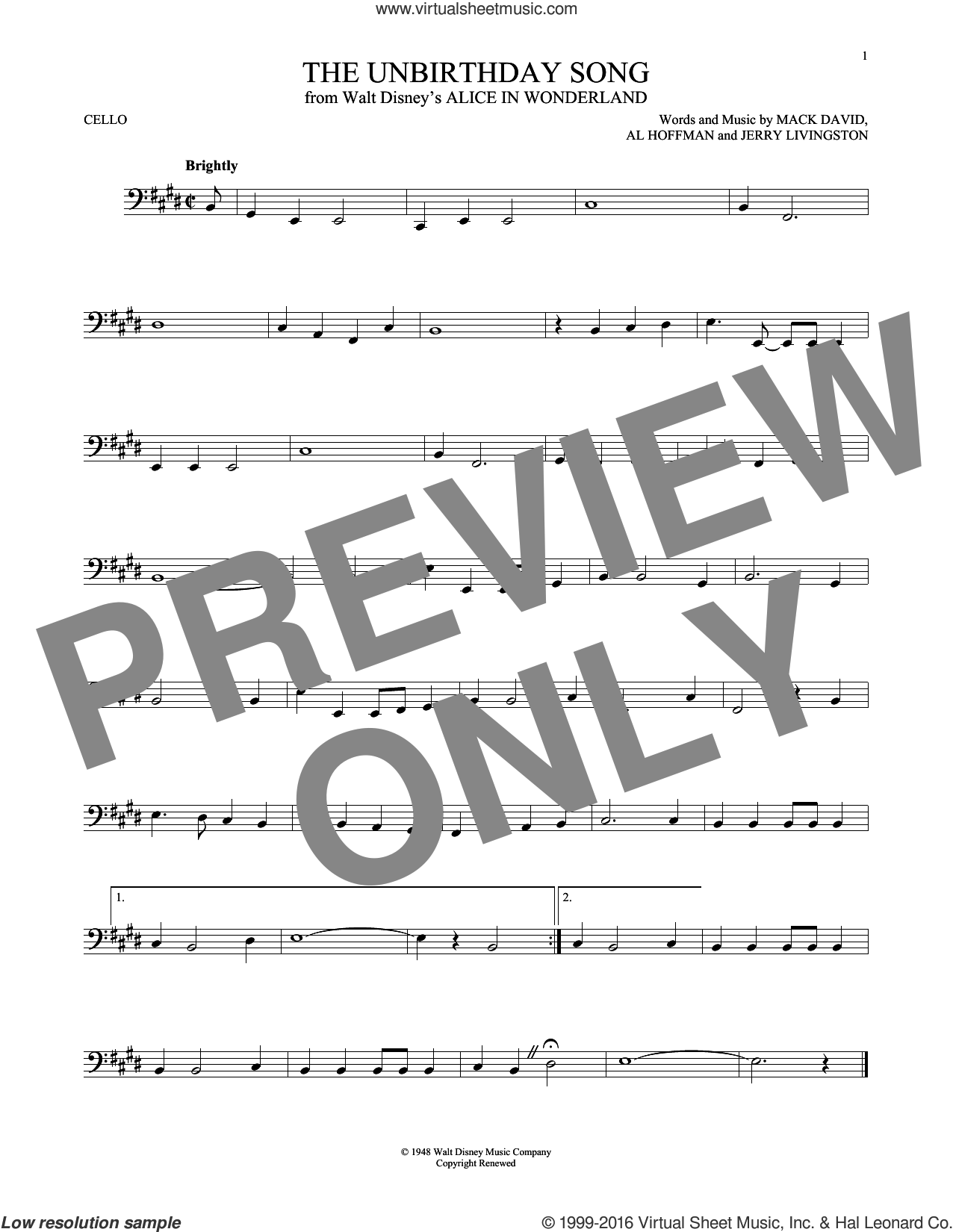The Unbirthday Song sheet music for cello solo by Al Hoffman, Jerry Livingston and Mack David, intermediate cello. Score Image Preview.