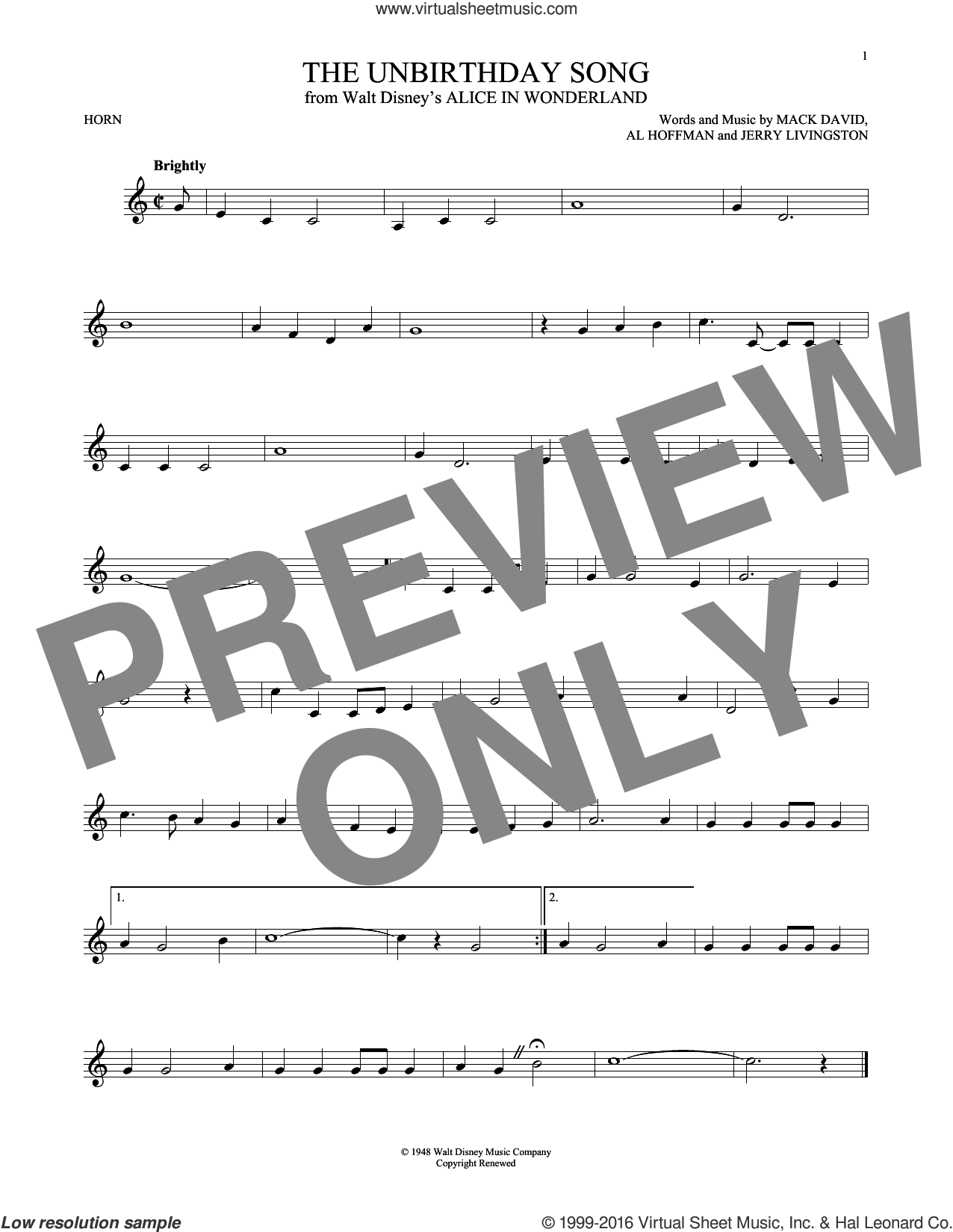 The Unbirthday Song sheet music for horn solo by Mack David, Al Hoffman and Jerry Livingston. Score Image Preview.