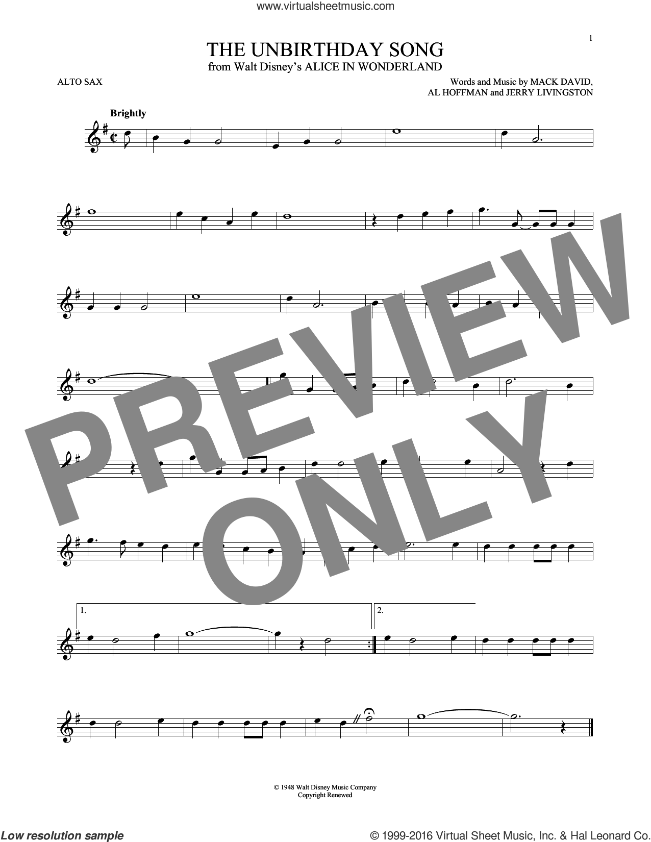 The Unbirthday Song sheet music for alto saxophone solo by Al Hoffman, Jerry Livingston and Mack David, intermediate. Score Image Preview.