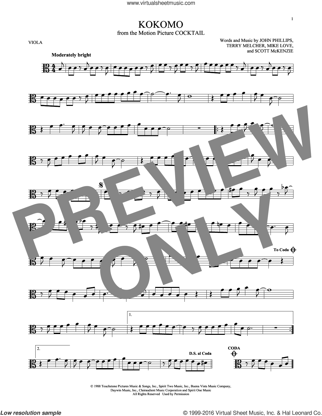Kokomo sheet music for viola solo by The Beach Boys, John Phillips, Mike Love, Scott McKenzie and Terry Melcher, intermediate skill level