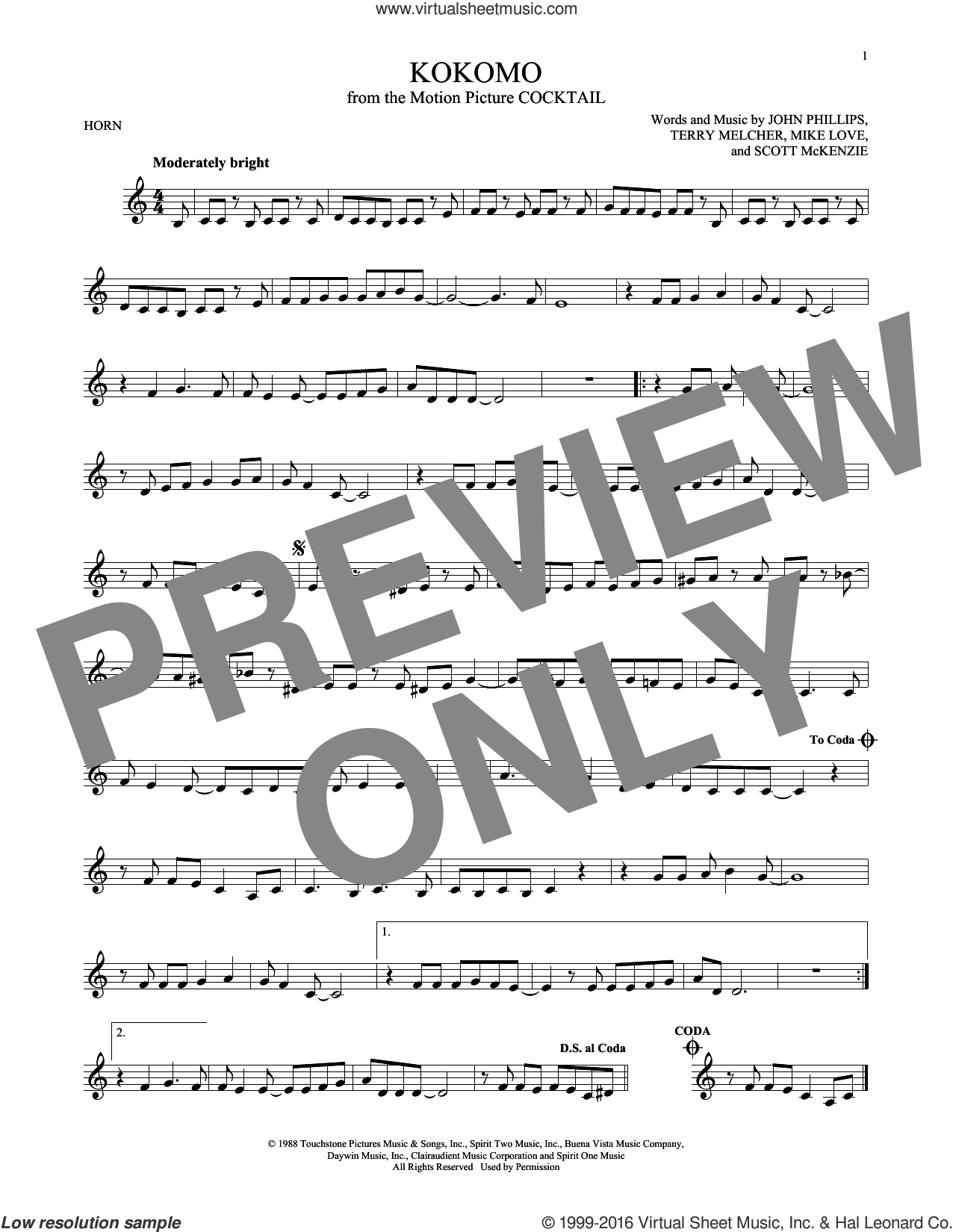 Kokomo sheet music for horn solo by Terry Melcher, The Beach Boys, John Phillips, Mike Love and Scott McKenzie. Score Image Preview.