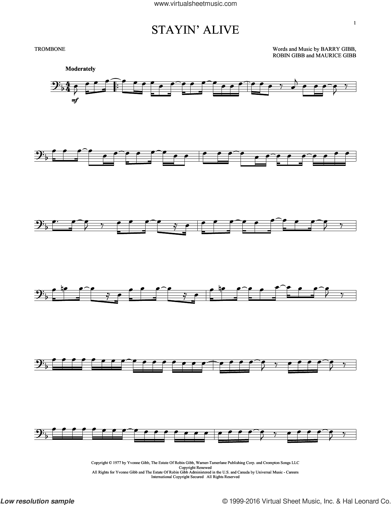 Stayin' Alive sheet music for trombone solo by Barry Gibb, Bee Gees, Maurice Gibb and Robin Gibb, intermediate trombone. Score Image Preview.