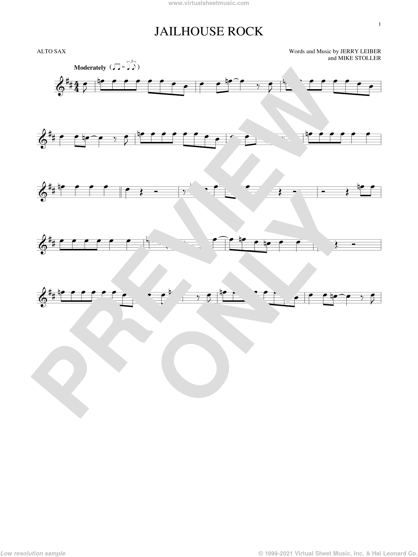 Jailhouse Rock sheet music for alto saxophone solo by Elvis Presley, Jerry Leiber and Mike Stoller, intermediate skill level