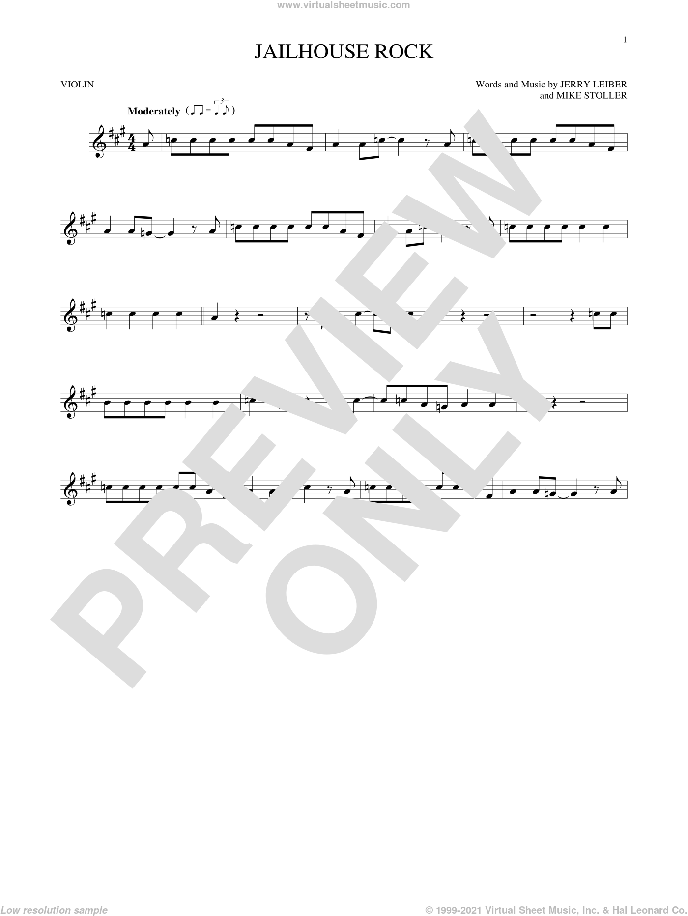 Jailhouse Rock sheet music for violin solo by Elvis Presley, Jerry Leiber and Mike Stoller, intermediate skill level