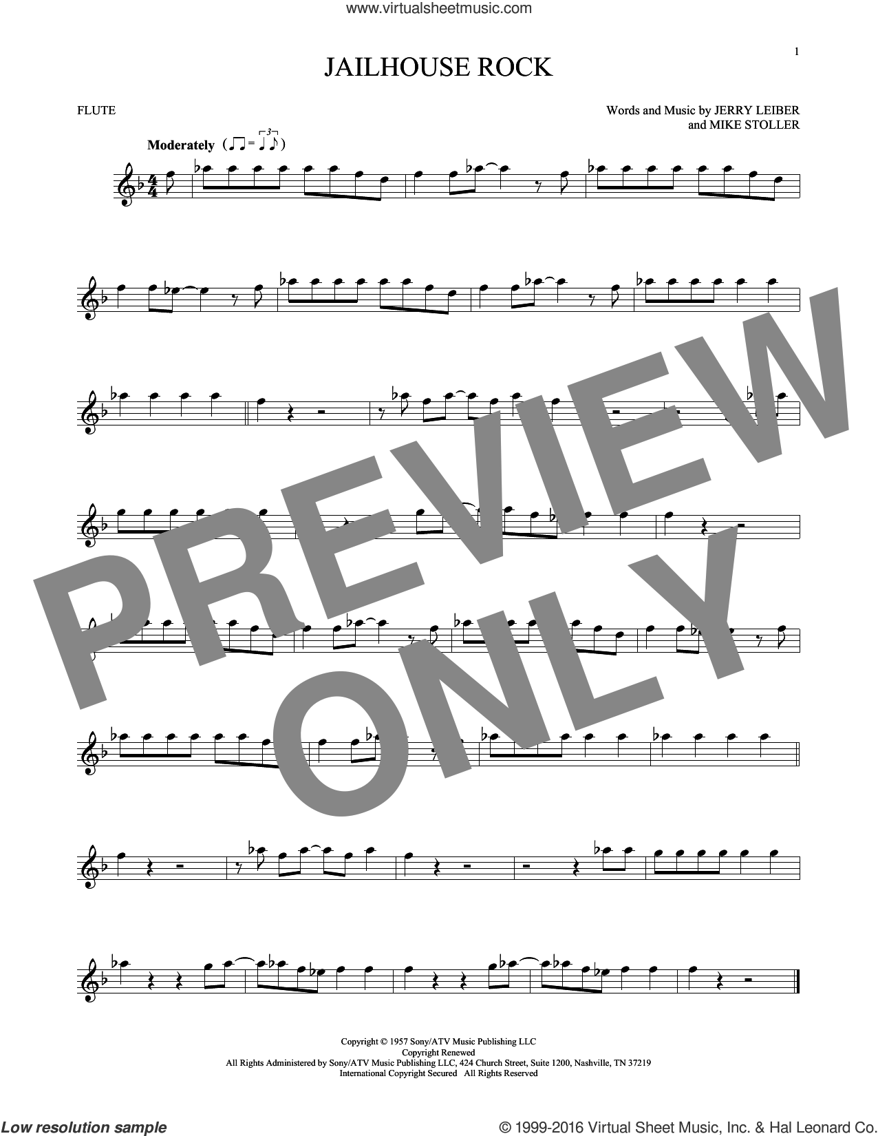 Jailhouse Rock sheet music for flute solo by Mike Stoller, Elvis Presley and Jerry Leiber. Score Image Preview.