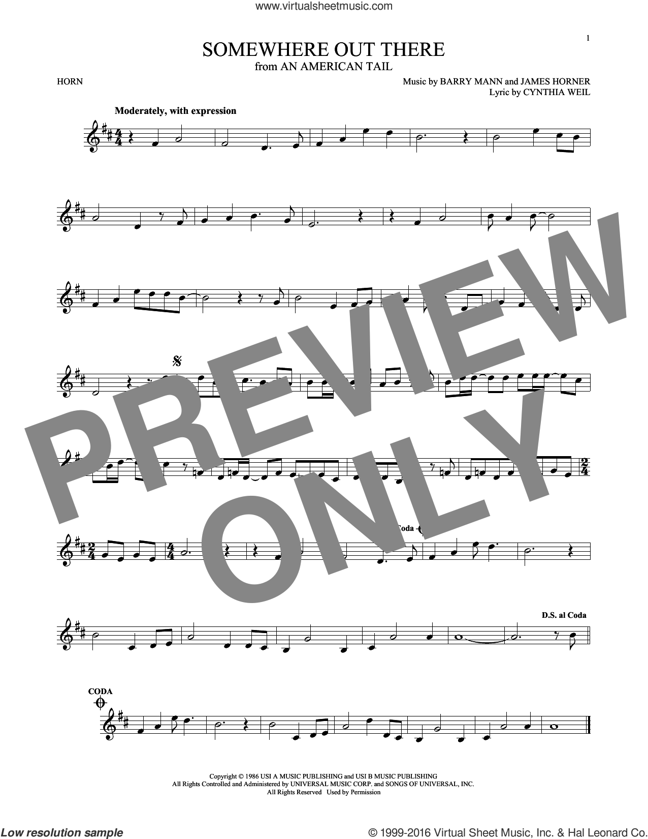 Somewhere Out There sheet music for horn solo by James Horner, Linda Ronstadt & James Ingram, Barry Mann and Cynthia Weil. Score Image Preview.