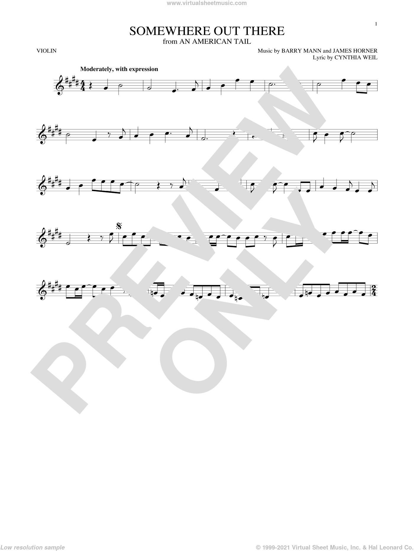 Somewhere Out There sheet music for violin solo by Linda Ronstadt & James Ingram, Barry Mann, Cynthia Weil and James Horner, intermediate skill level