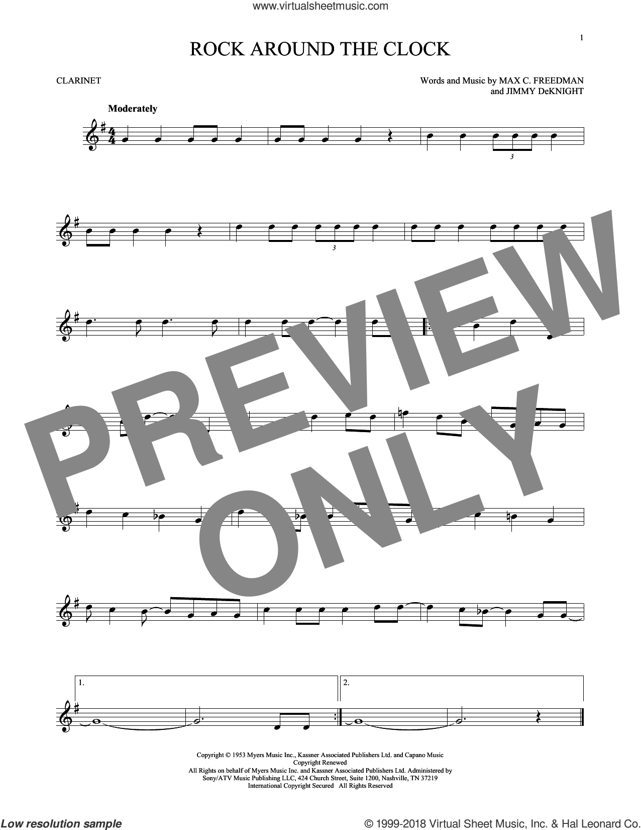 Rock Around The Clock sheet music for clarinet solo by Bill Haley & His Comets, Jimmy DeKnight and Max C. Freedman, intermediate skill level