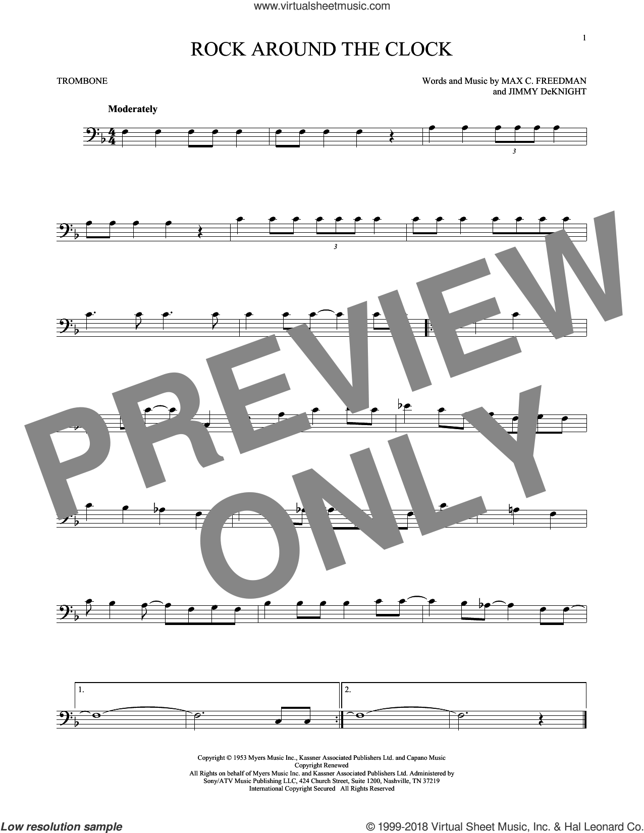 Rock Around The Clock sheet music for trombone solo by Bill Haley & His Comets, Jimmy DeKnight and Max C. Freedman, intermediate skill level