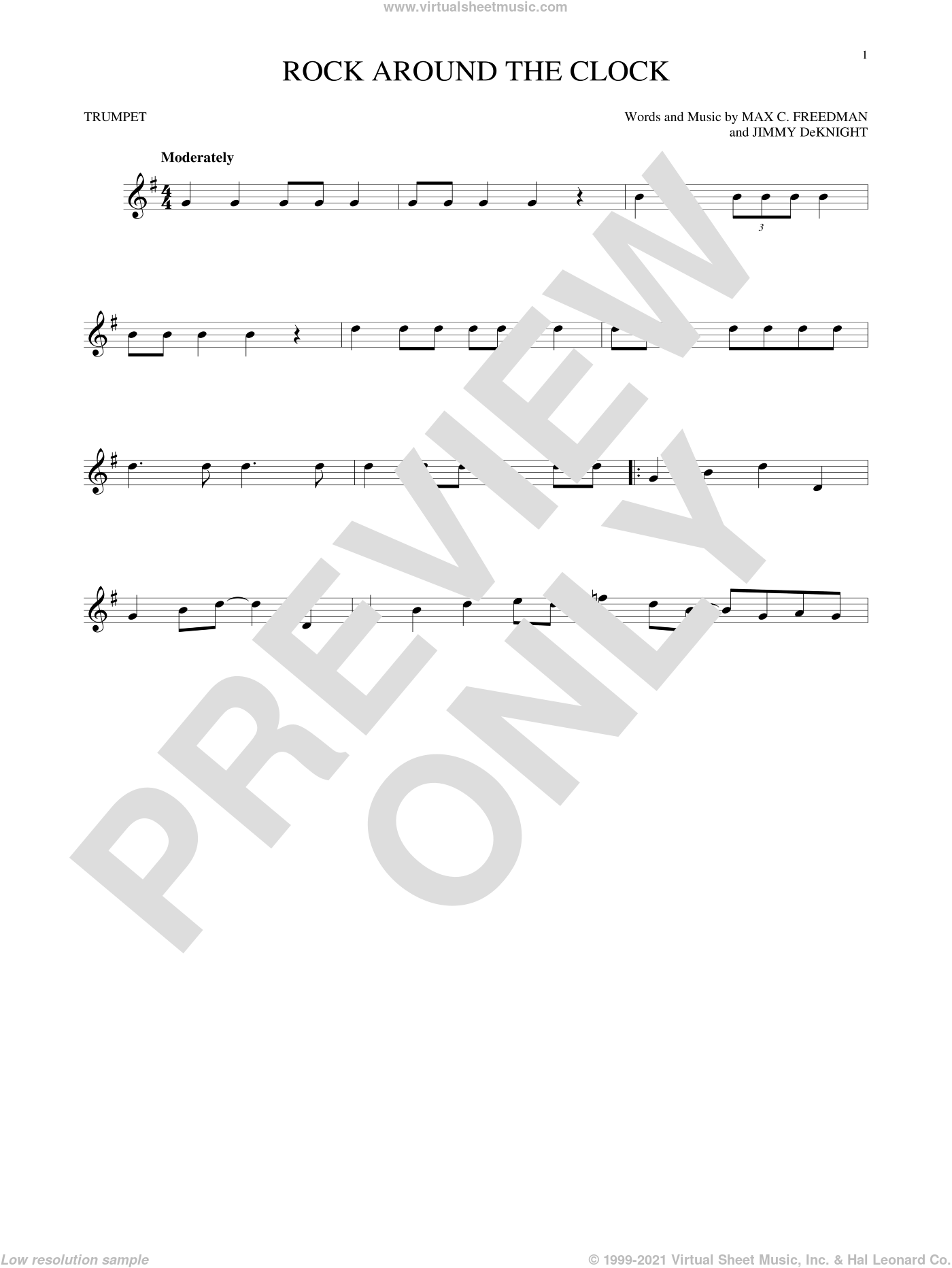 Rock Around The Clock sheet music for trumpet solo by Bill Haley & His Comets, Jimmy DeKnight and Max C. Freedman, intermediate skill level