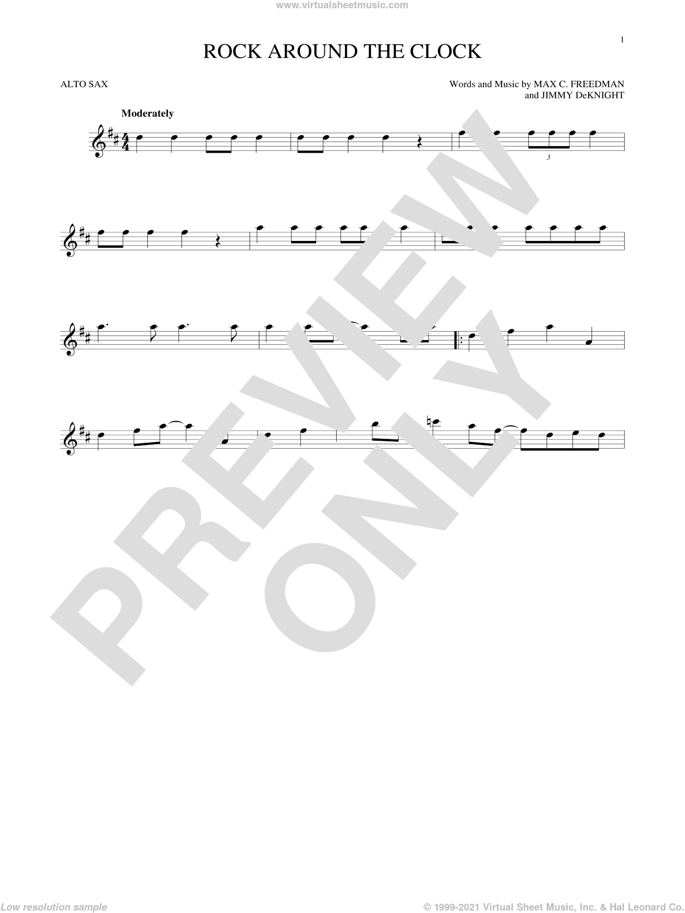 Rock Around The Clock sheet music for alto saxophone solo by Bill Haley & His Comets, Jimmy DeKnight and Max C. Freedman, intermediate skill level