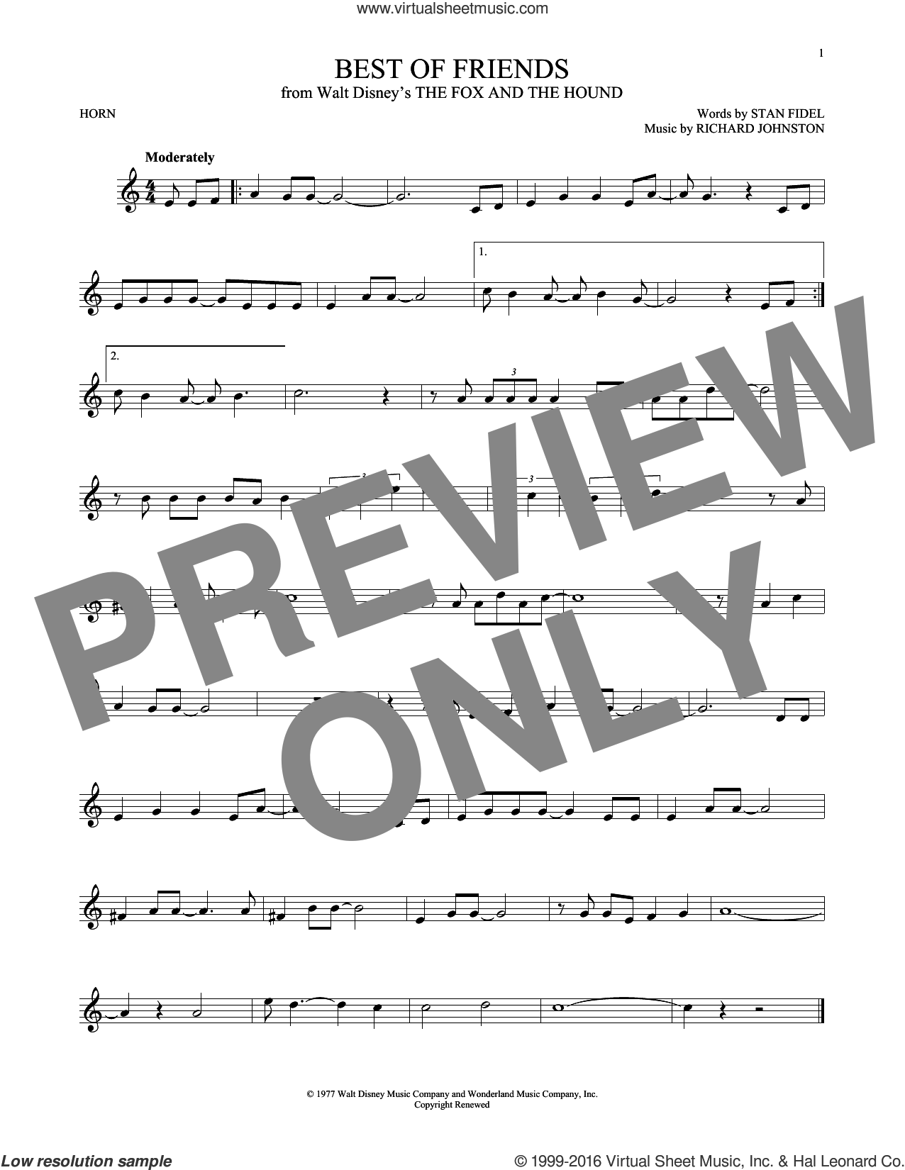 Best Of Friends sheet music for horn solo by Richard Johnston and Stan Fidel. Score Image Preview.