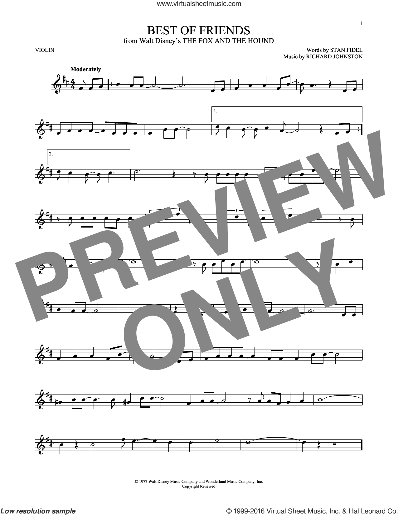 Best Of Friends sheet music for violin solo by Richard Johnston and Stan Fidel, intermediate skill level