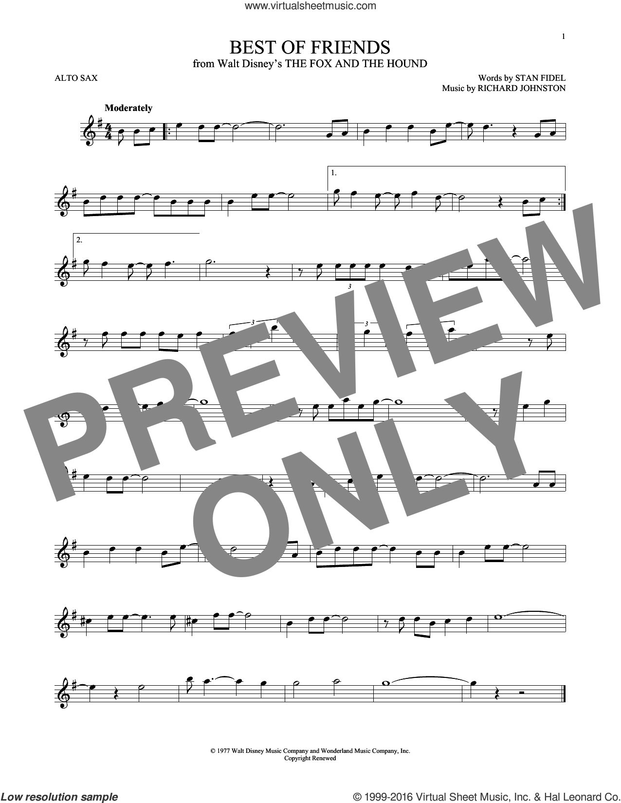 Best Of Friends sheet music for alto saxophone solo by Richard Johnston and Stan Fidel, intermediate skill level