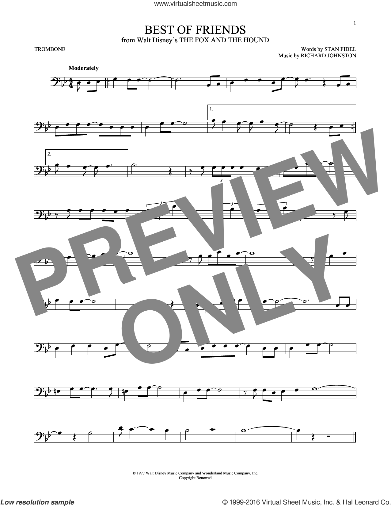 Best Of Friends sheet music for trombone solo by Stan Fidel and Richard Johnston. Score Image Preview.