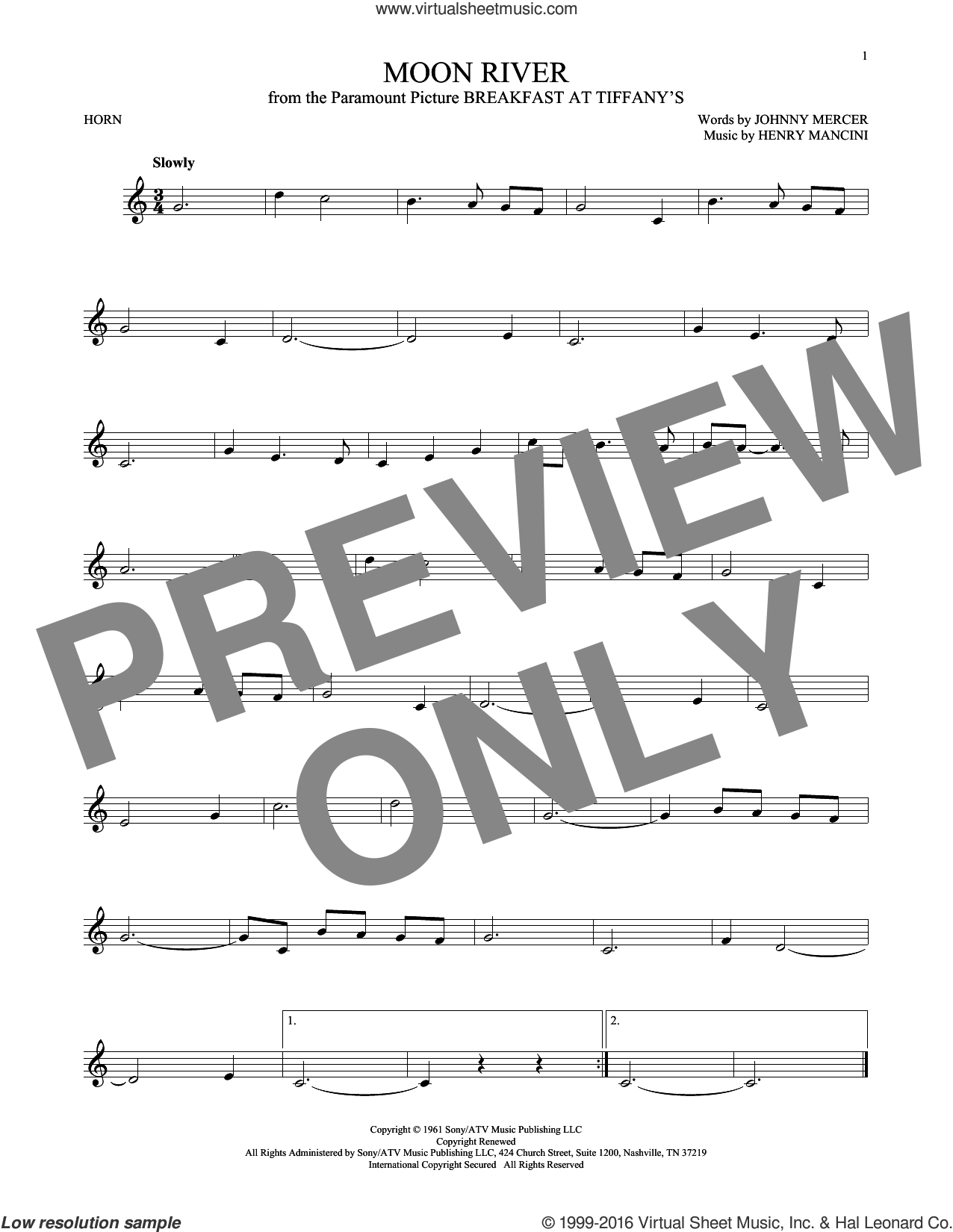 Moon River sheet music for horn solo by Johnny Mercer, Andy Williams and Henry Mancini, intermediate skill level