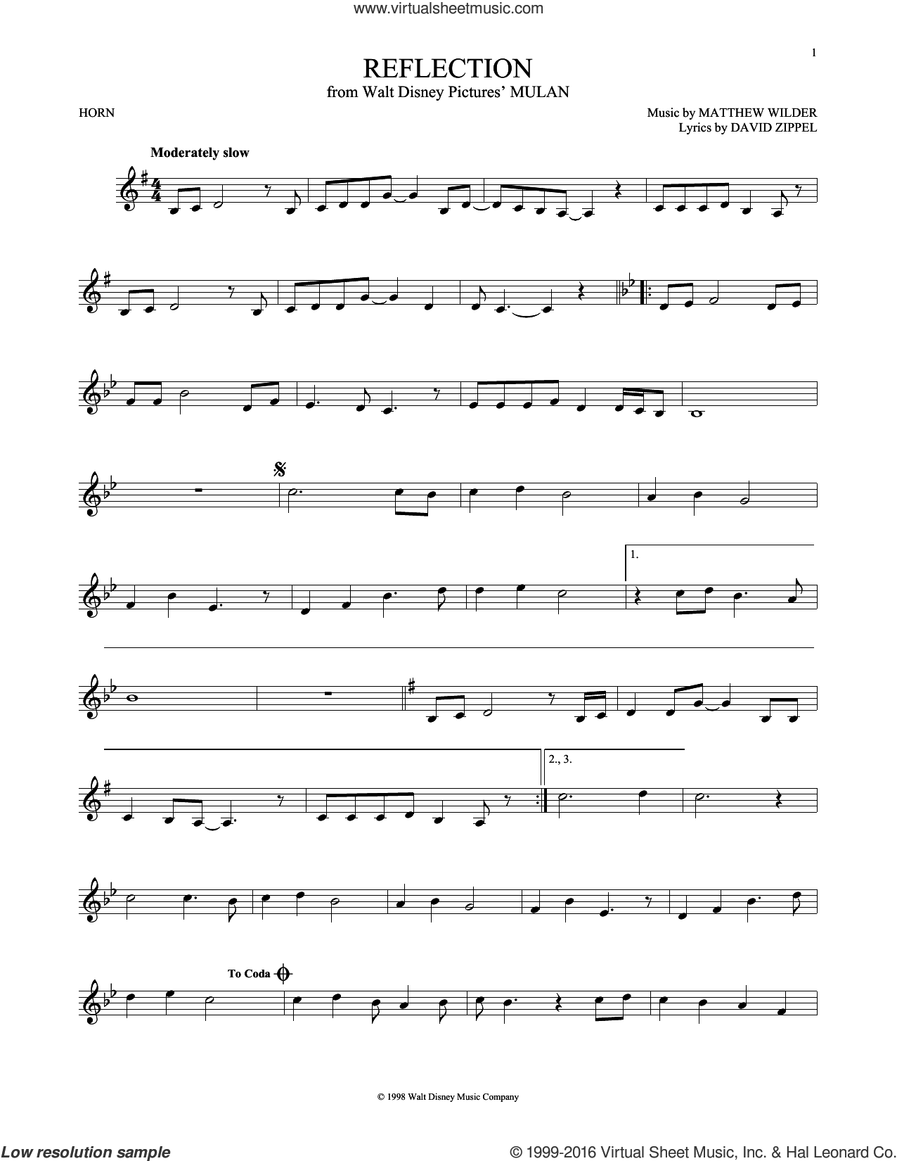 Reflection sheet music for horn solo by Christina Aguilera, David Zippel and Matthew Wilder, intermediate skill level