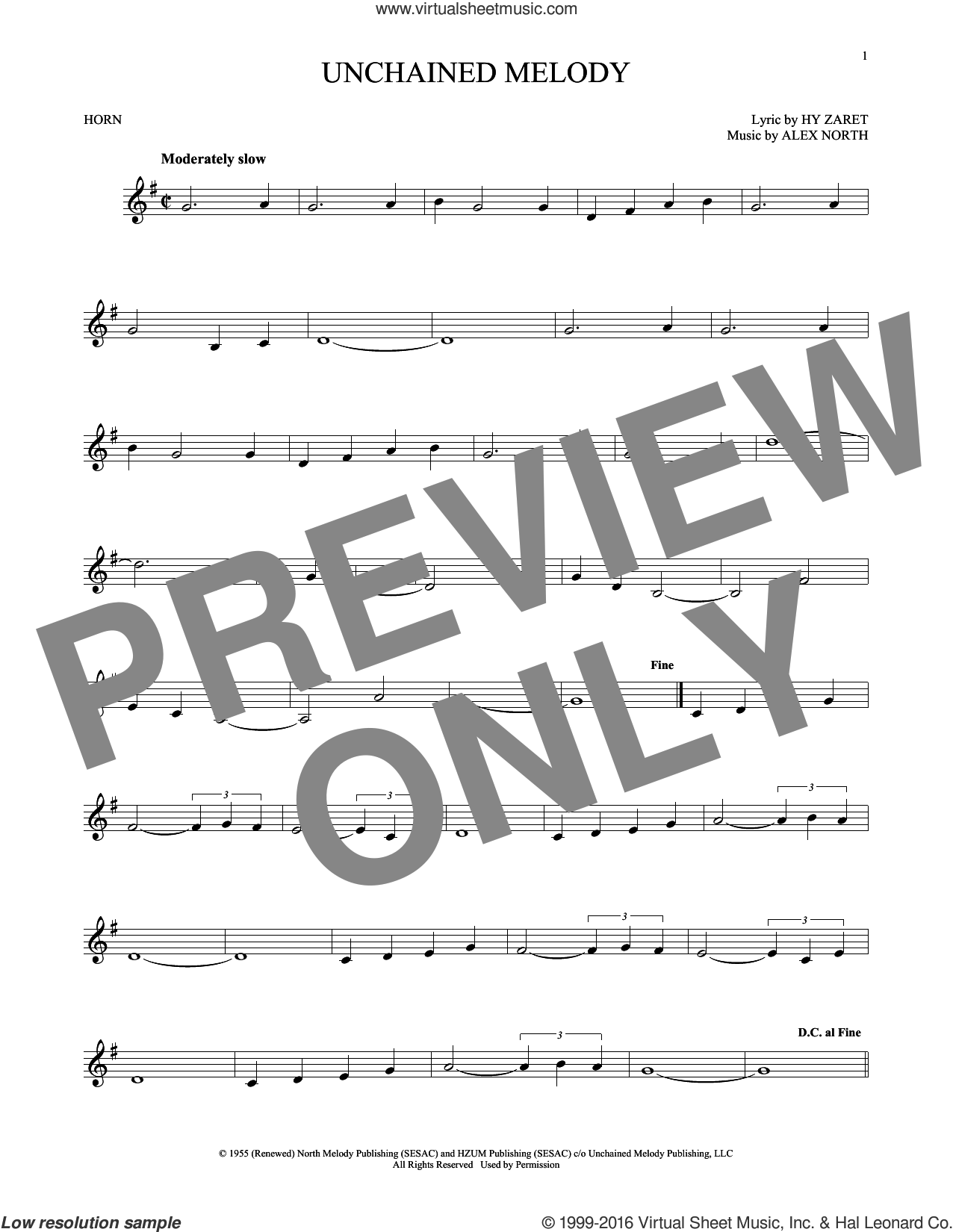 Unchained Melody sheet music for horn solo by The Righteous Brothers, Al Hibbler, Barry Manilow, Elvis Presley, Les Baxter, Alex North and Hy Zaret, intermediate