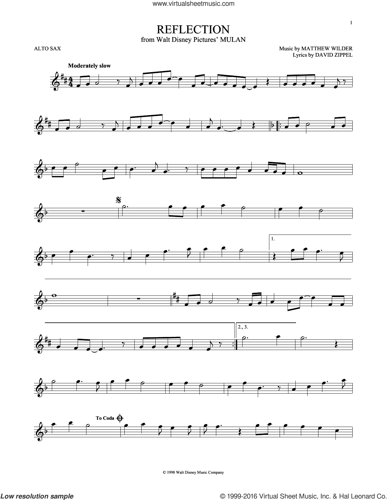 Reflection sheet music for alto saxophone solo by Christina Aguilera, David Zippel and Matthew Wilder, intermediate. Score Image Preview.