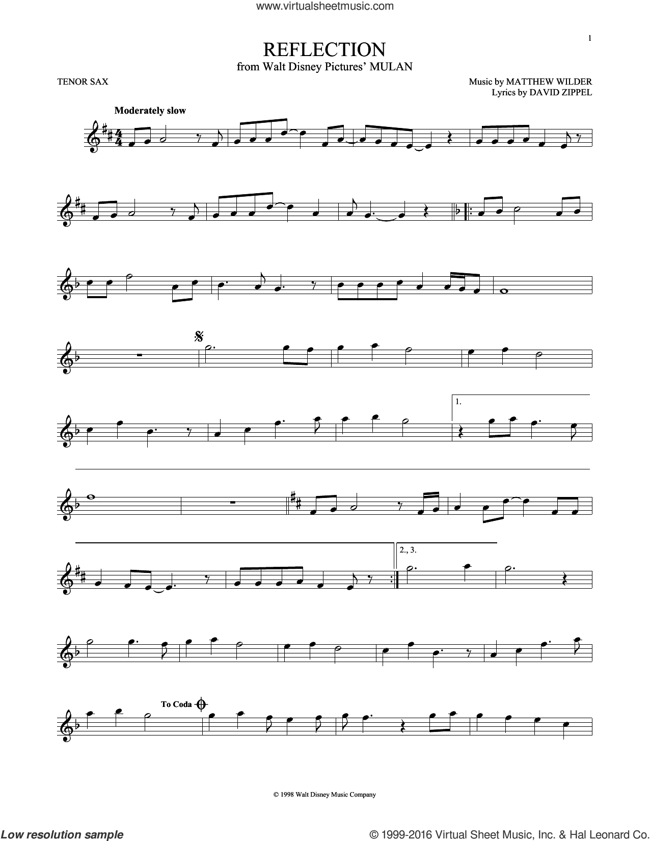 Reflection sheet music for tenor saxophone solo by Christina Aguilera, David Zippel and Matthew Wilder. Score Image Preview.