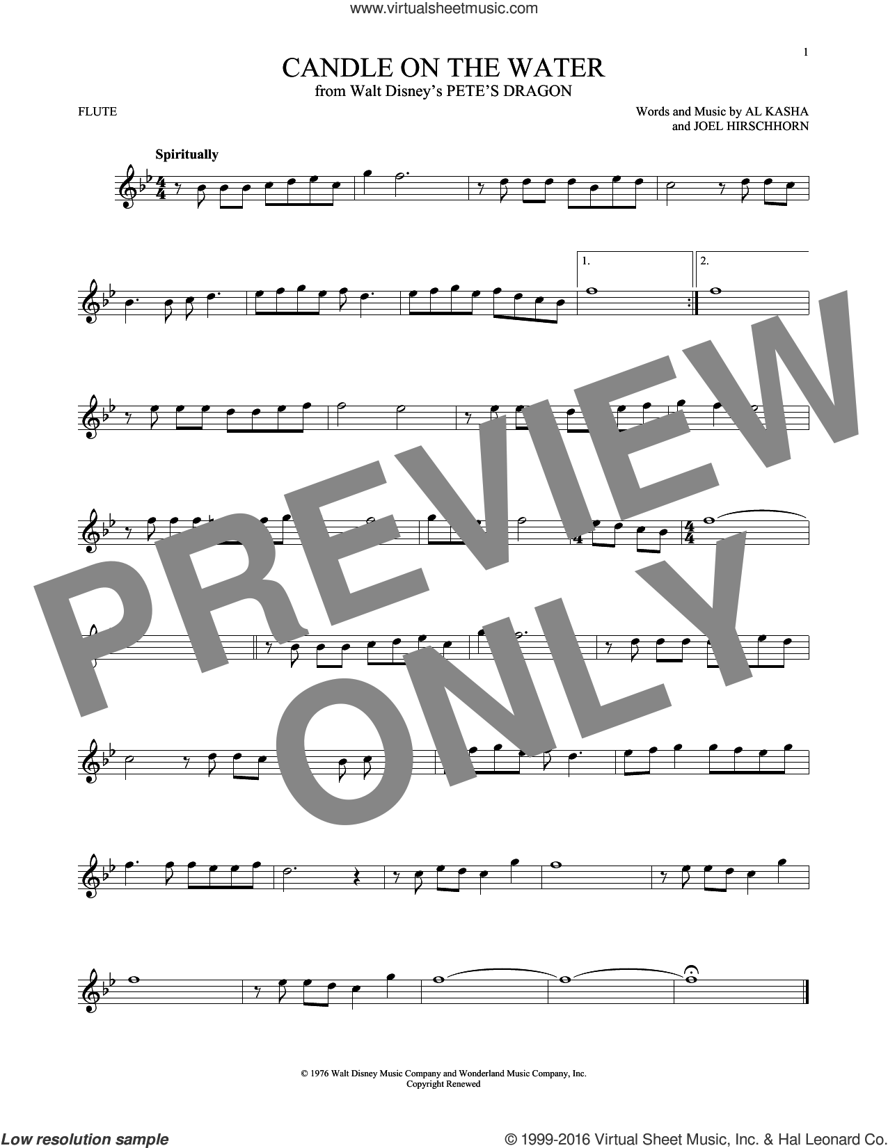 Candle On The Water sheet music for flute solo by Al Kasha, Al Kasha & Joel Hirschhorn and Joel Hirschhorn, intermediate skill level