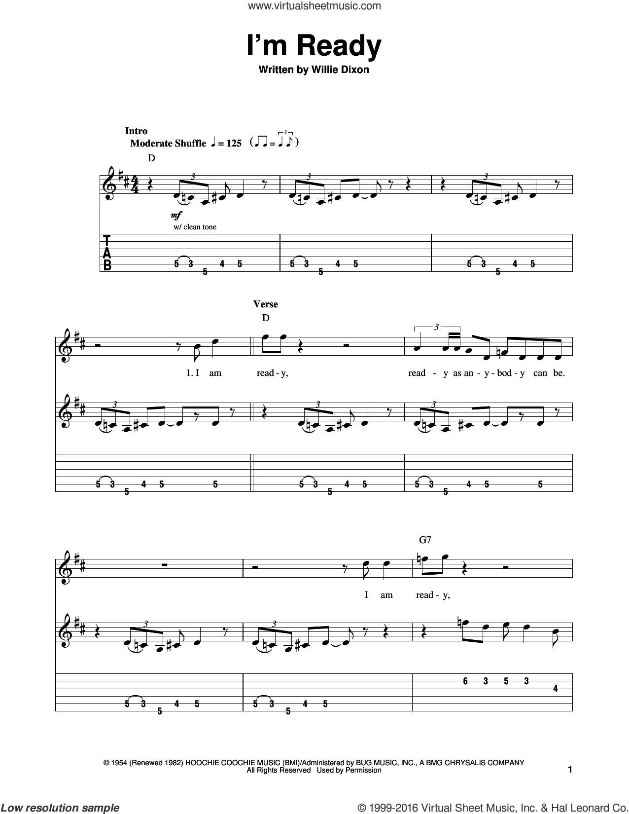 I'm Ready sheet music for guitar solo (easy tablature) by Muddy Waters and Willie Dixon. Score Image Preview.