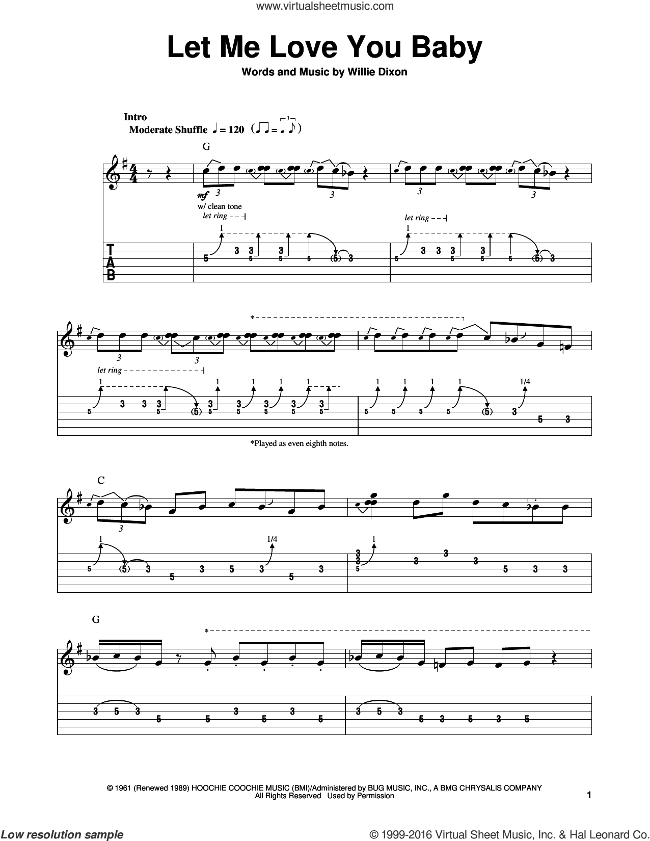 Let Me Love You Baby sheet music for guitar solo (easy tablature) by Stevie Ray Vaughan, Buddy Guy and Willie Dixon, easy guitar (easy tablature)