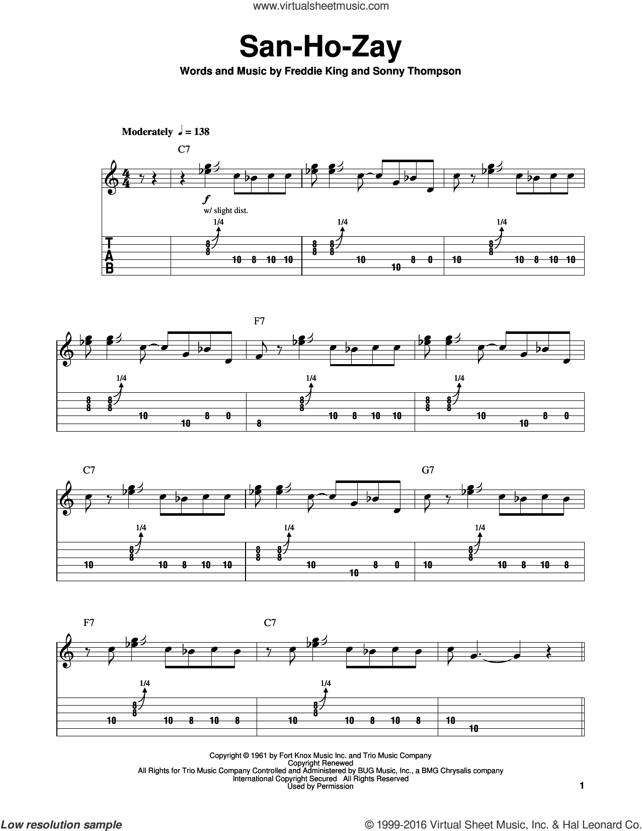 San-Ho-Zay sheet music for guitar solo (easy tablature) by Freddie King and Sonny Thompson, easy guitar (easy tablature)