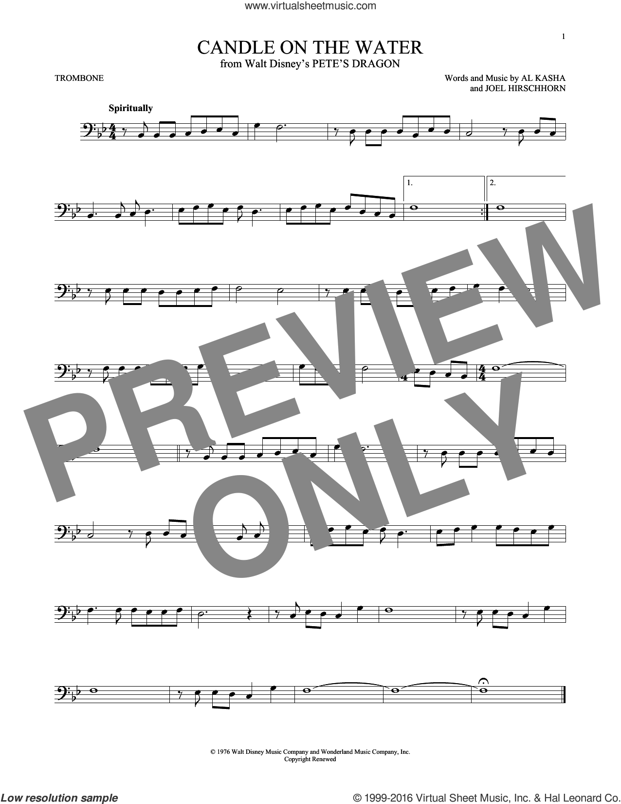 Candle On The Water sheet music for trombone solo by Al Kasha, Al Kasha & Joel Hirschhorn and Joel Hirschhorn, intermediate skill level
