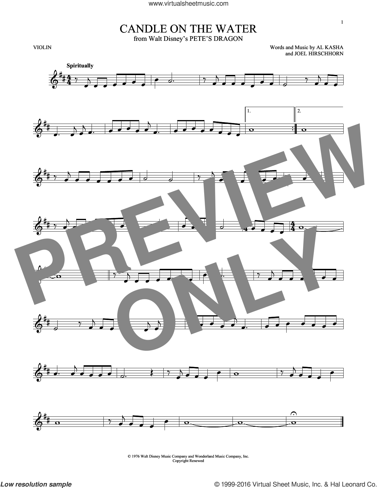 Candle On The Water sheet music for violin solo by Al Kasha, Al Kasha & Joel Hirschhorn and Joel Hirschhorn, intermediate skill level