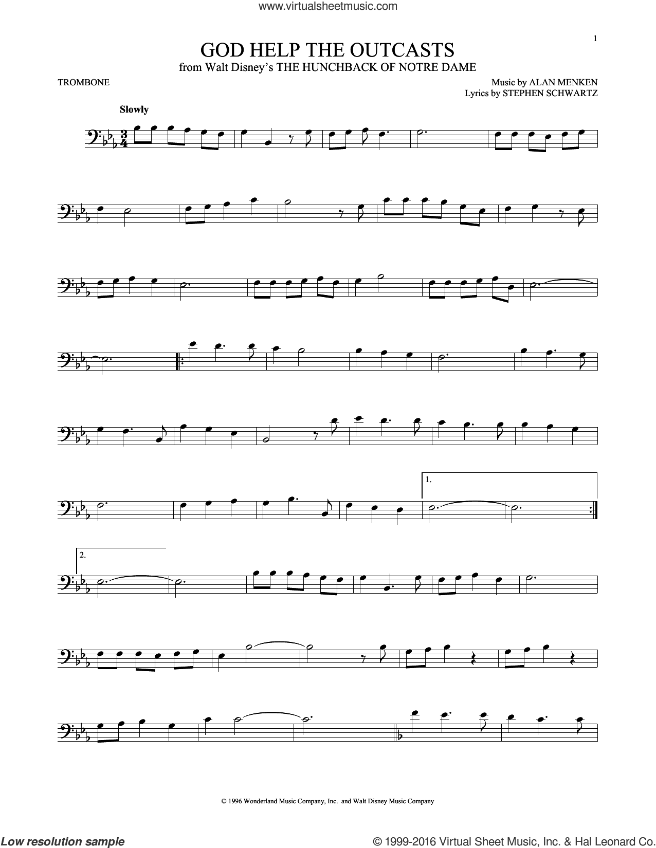God Help The Outcasts sheet music for trombone solo by Bette Midler, Alan Menken and Stephen Schwartz, intermediate skill level