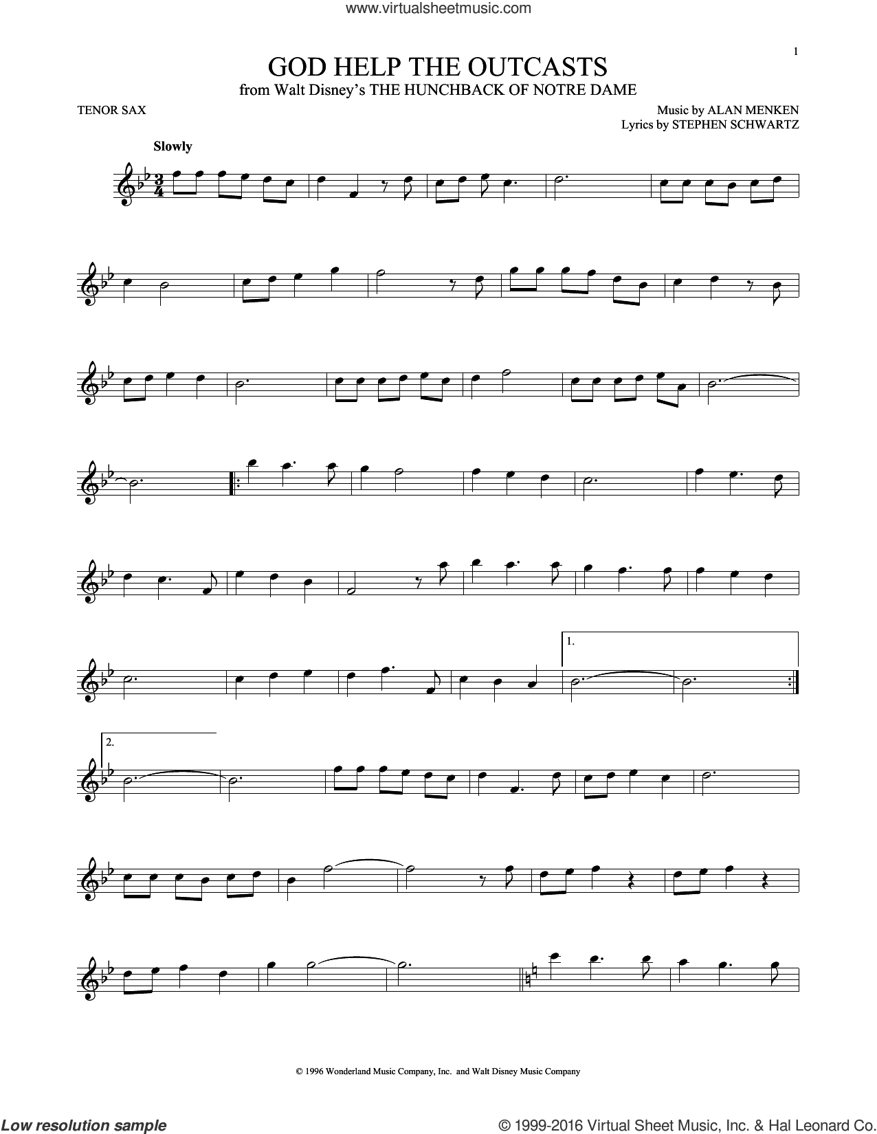 God Help The Outcasts sheet music for tenor saxophone solo by Bette Midler, Alan Menken and Stephen Schwartz, intermediate skill level