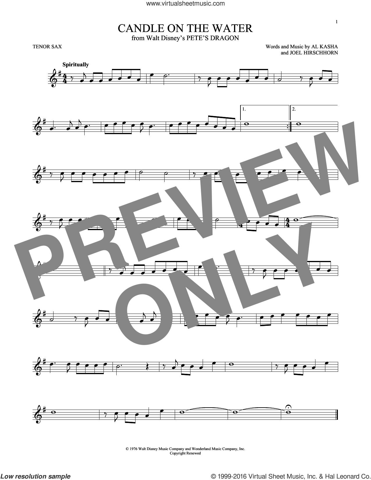 Candle On The Water sheet music for tenor saxophone solo by Al Kasha, Al Kasha & Joel Hirschhorn and Joel Hirschhorn, intermediate skill level