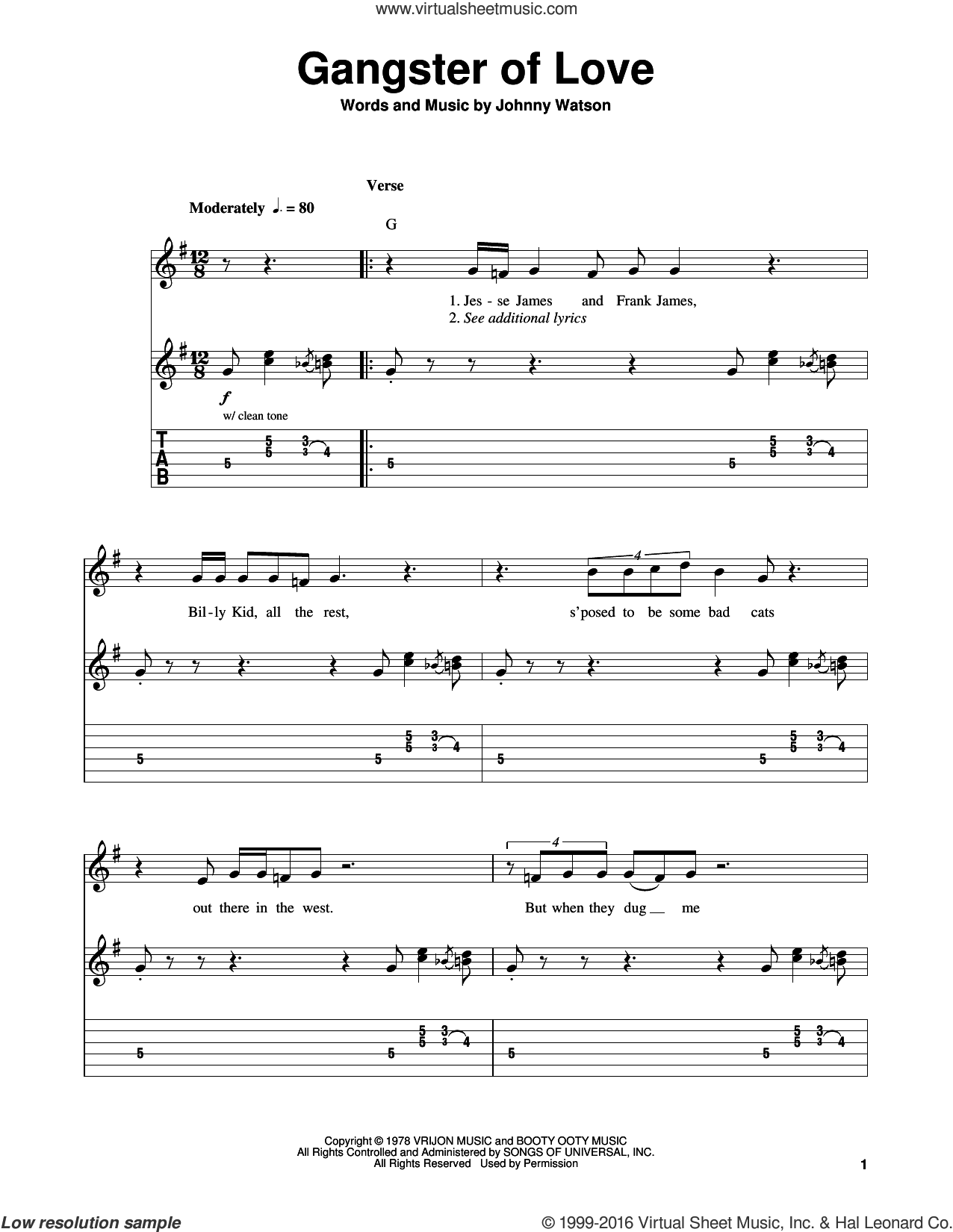 Gangster Of Love sheet music for guitar solo (easy tablature) by Johnny 'Guitar' Watson and Johnny Watson, easy guitar (easy tablature)