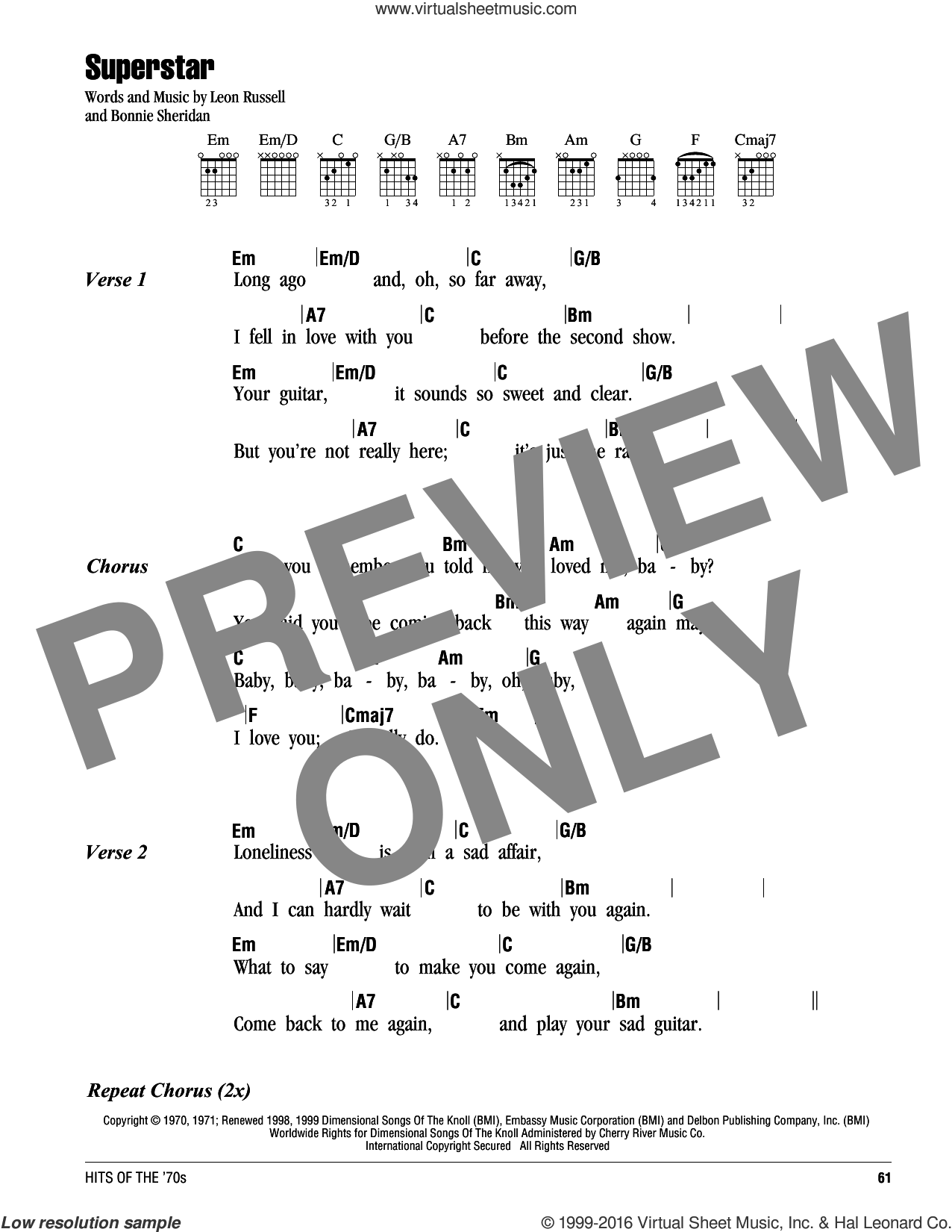 Superstar sheet music for guitar (chords) by Leon Russell, Carpenters and Bonnie Sheridan. Score Image Preview.