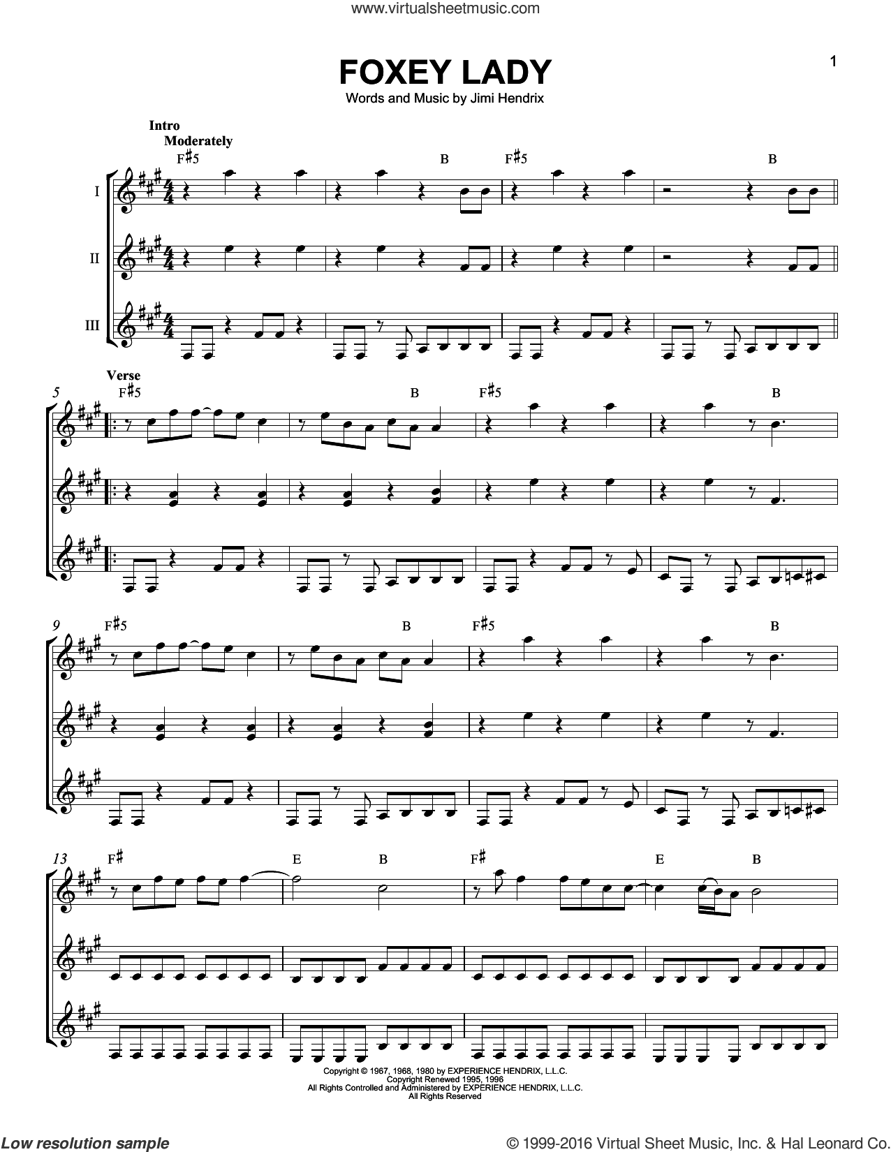 Foxey Lady sheet music for guitar ensemble by Jimi Hendrix. Score Image Preview.